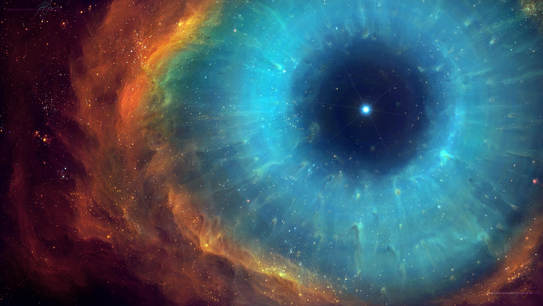 Nebula Helix Nebula Space Stars Eyes Space Art Digital Art Galaxy Red Cyan 3000x1694