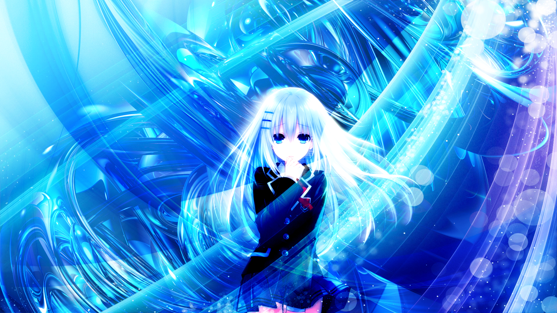 Origami Tobiichi White Hair Long Hair Anime School Uniform Blue Eyes 1920x1080