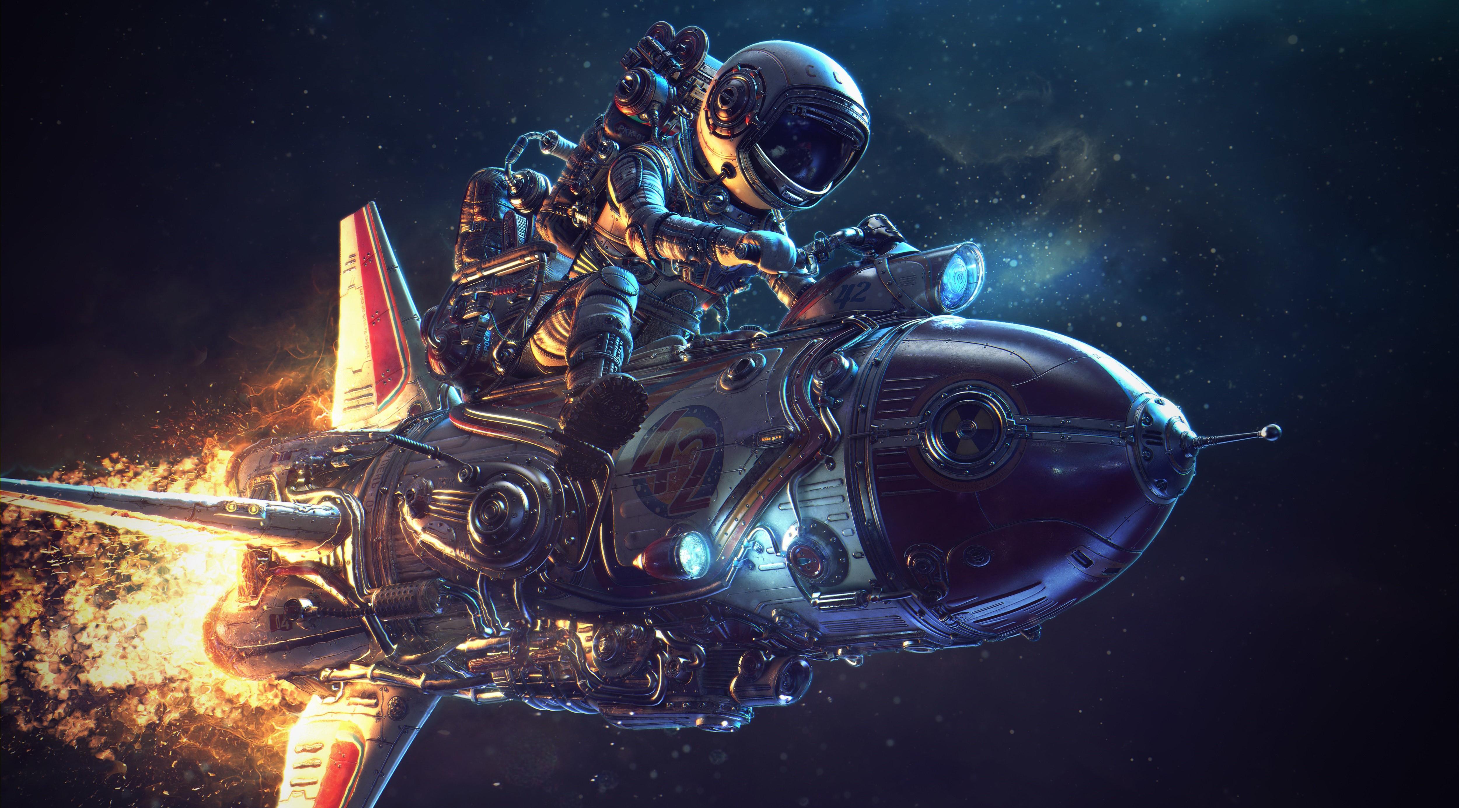 Astronaut Rocket Space 5000x2771