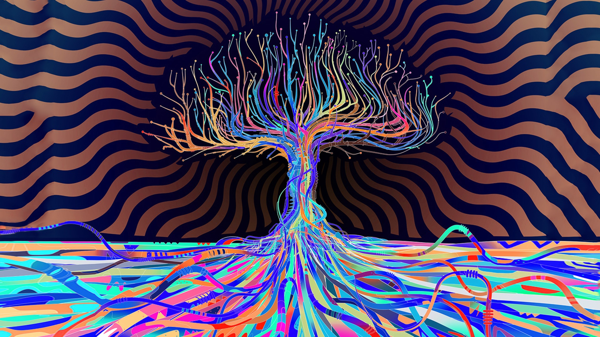 Abstract Colors Colorful Tree 1920x1080