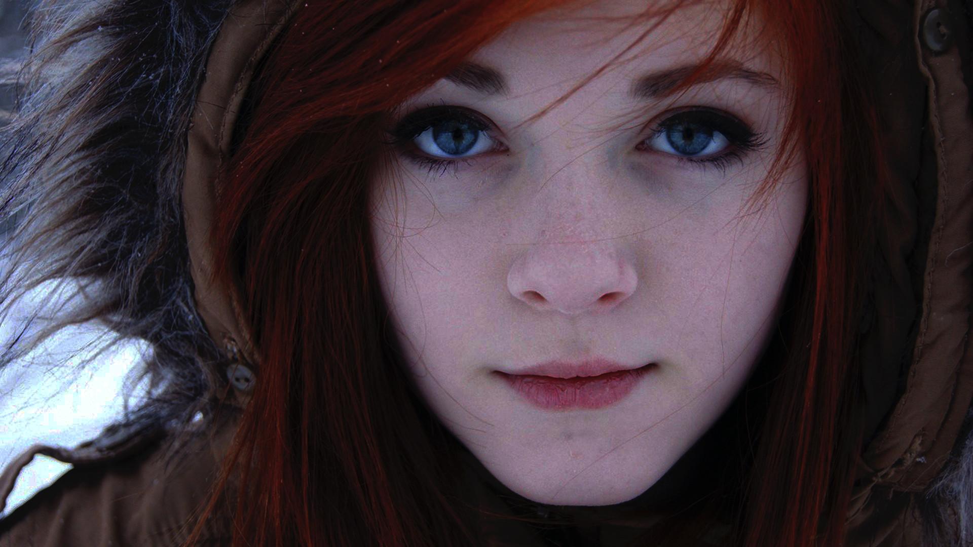 Blue Eyes Women Redhead Face Women Outdoors Closeup Eyes Portrait Model Long Hair Winter Jacket Dark 1920x1080
