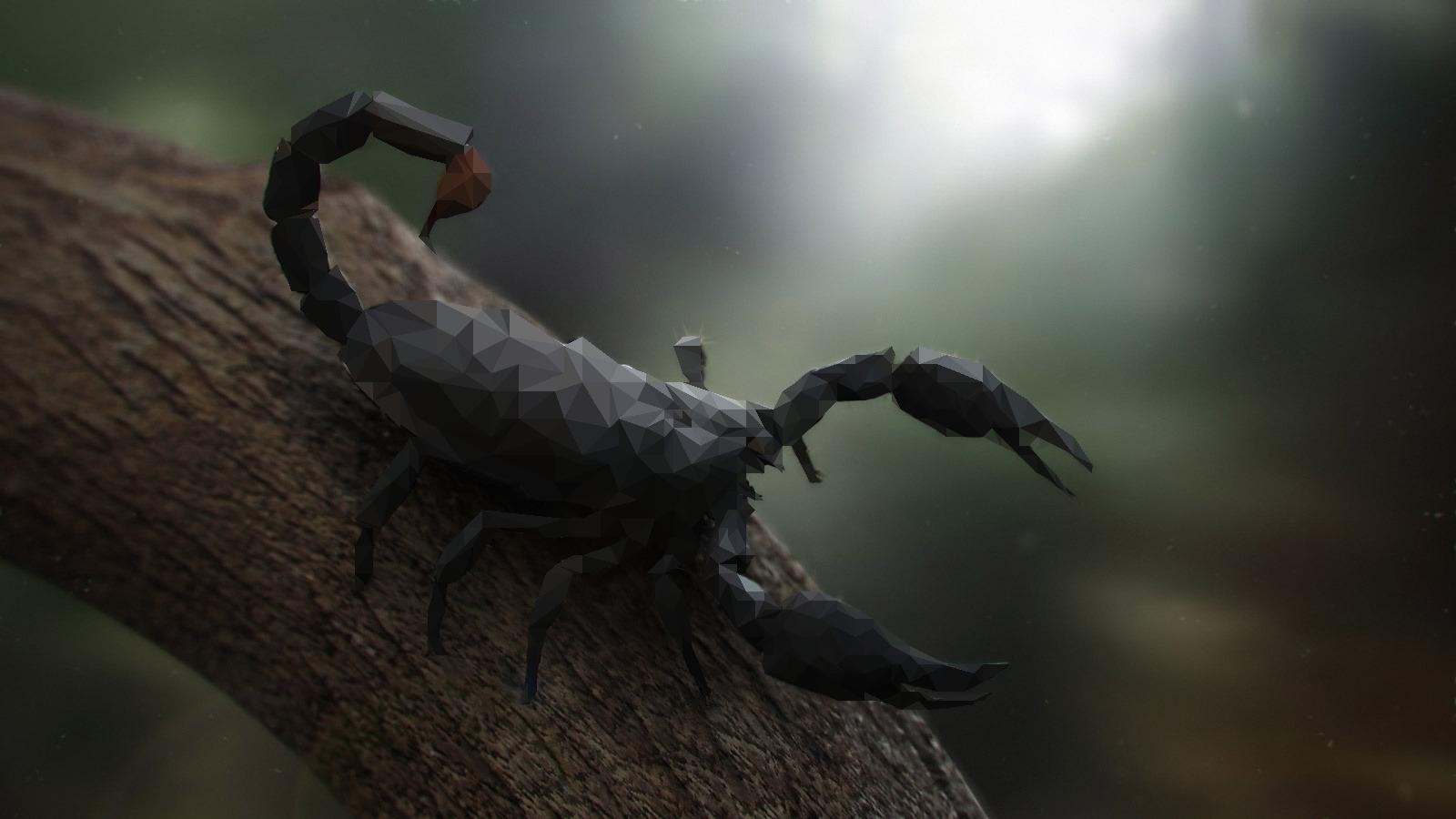 Nature Animals Trees Digital Art Scorpions Low Poly Branch Wood Depth Of Field 1600x900