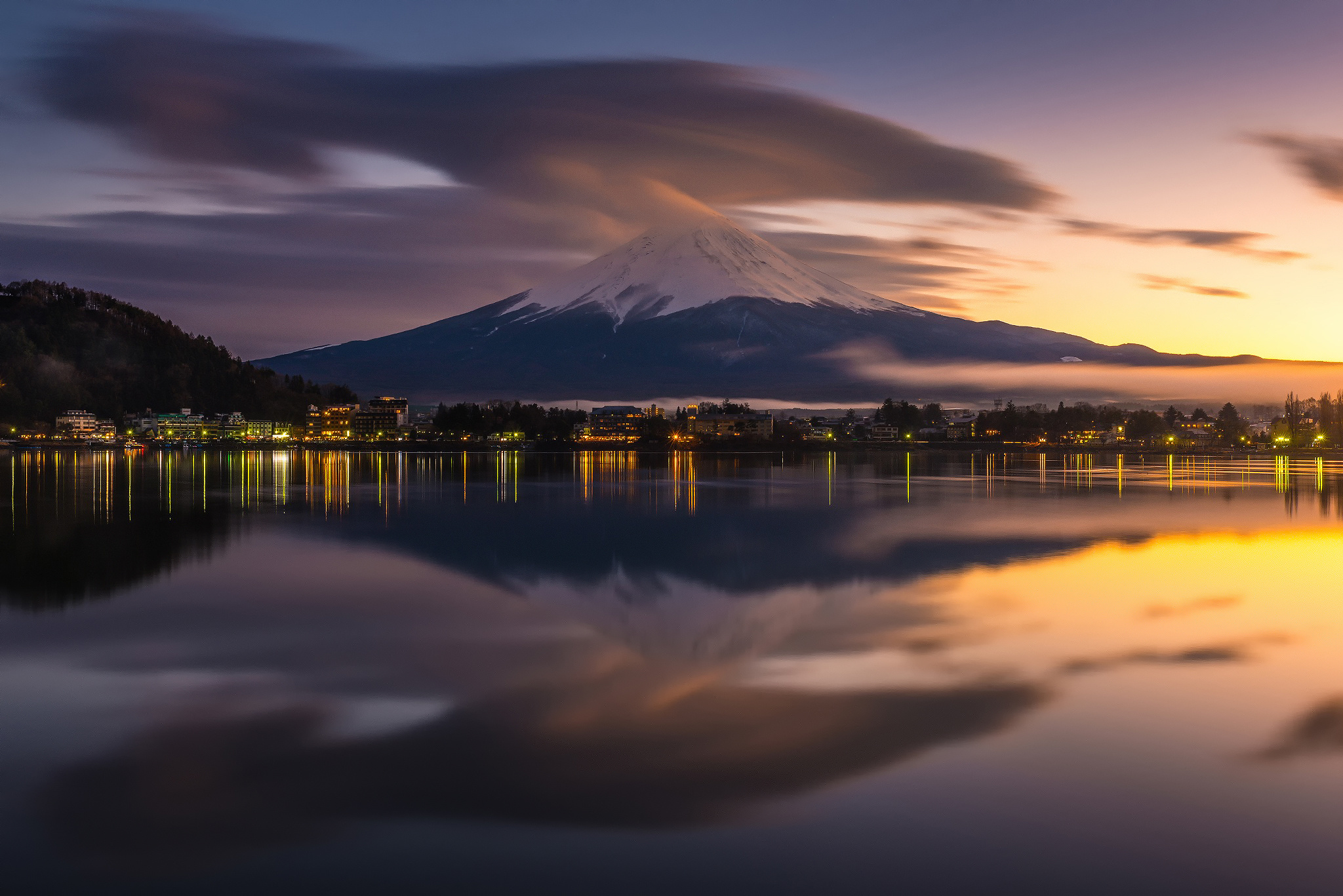 Mount Fuji Volcano Japan Reflection Yamanashi Lake Kawaguchi 2048x1367