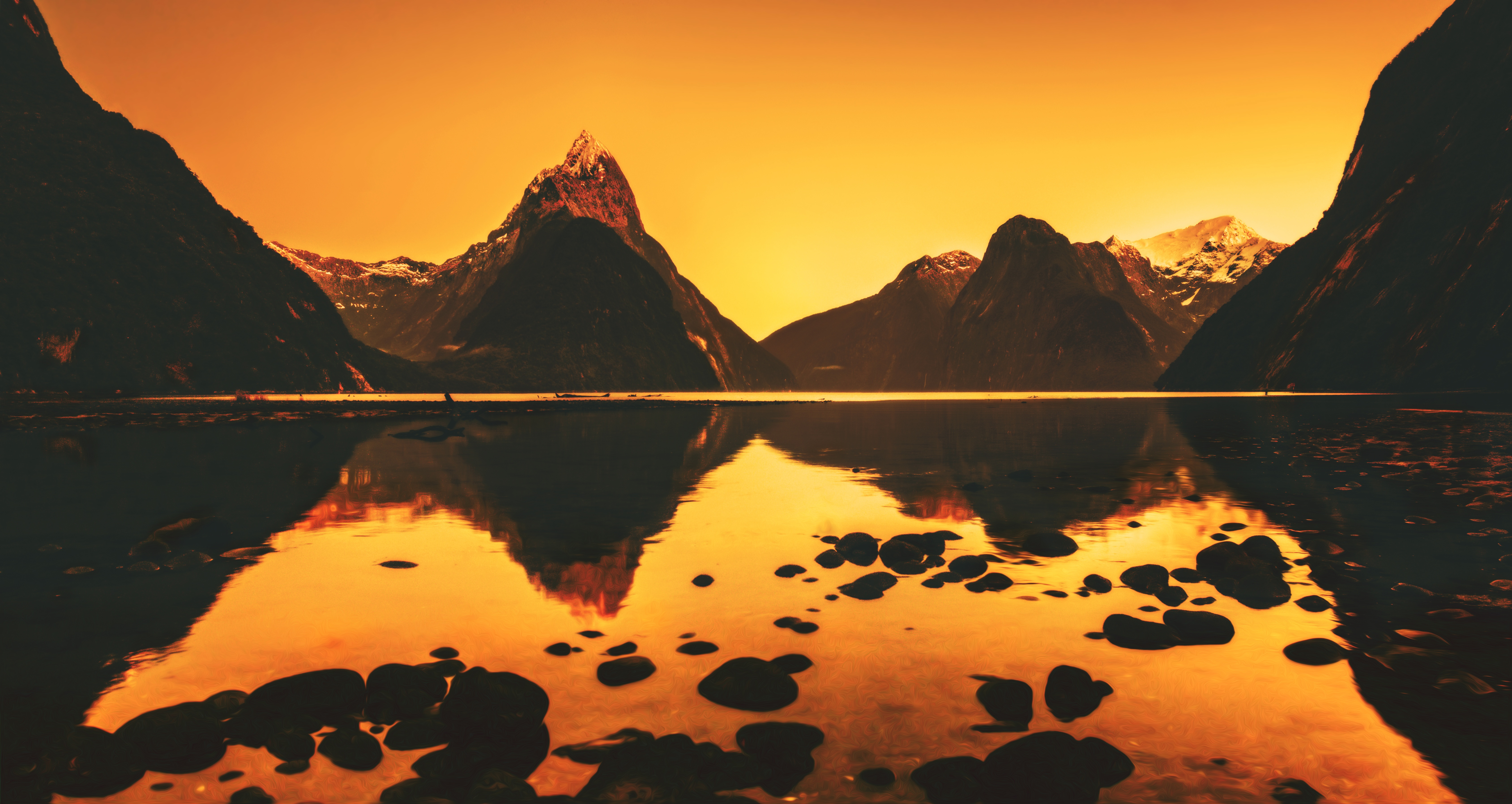 Milford Sound Mitre Peak Reflection Mountain Fjord New Zealand 6756x3592