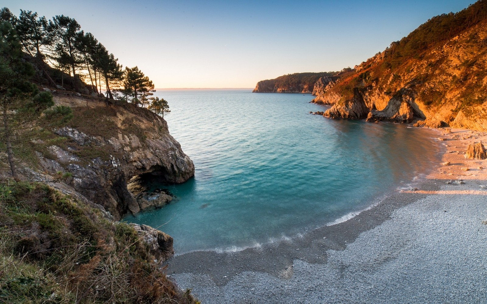 Nature Landscape Beach Sunset Sea Trees Cave Hills Virgin Islands Coves Water Turquoise 1600x1000