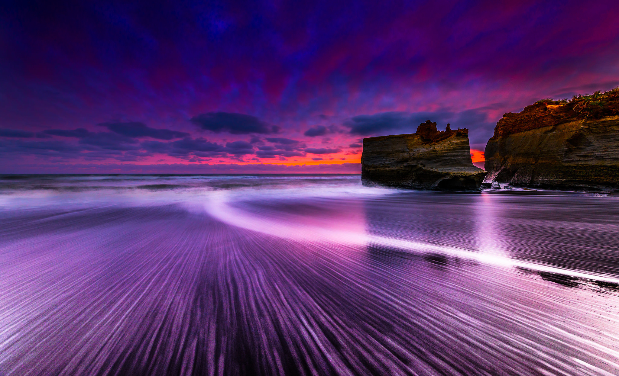 Earth Sunset Sky Purple Blue Cloud Beach Ocean Sea Rock Horizon 2048x1245