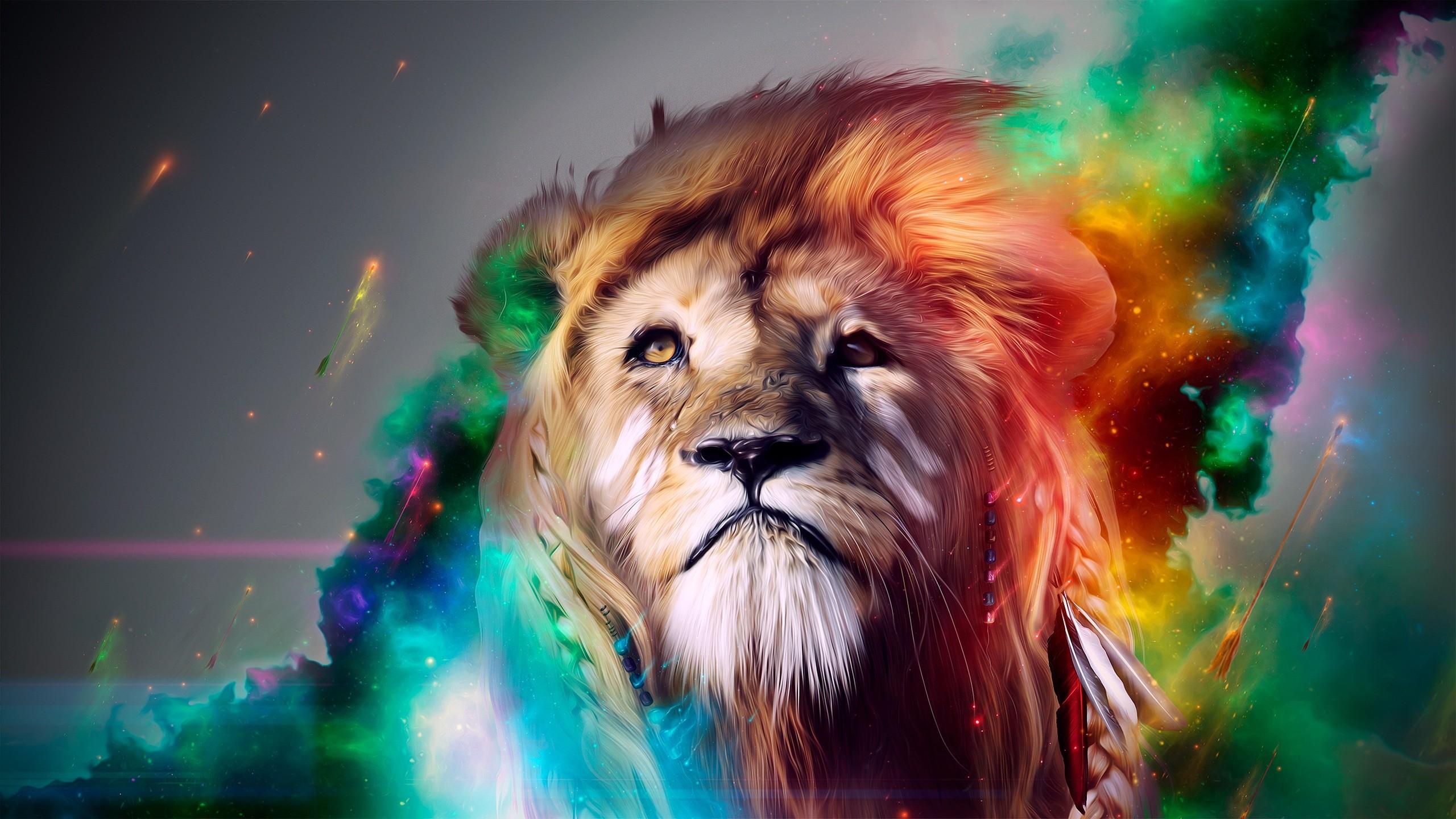 Artistic Colorful Lion 2560x1440