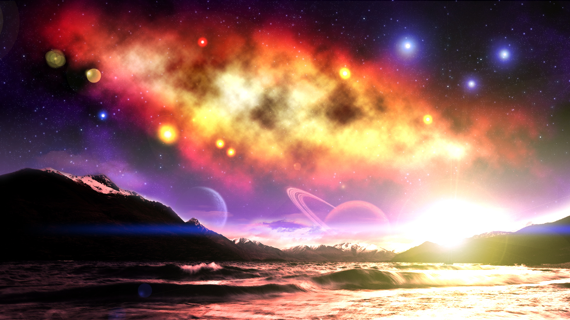 Nebula Planet Space Stars Sunrise 1920x1080