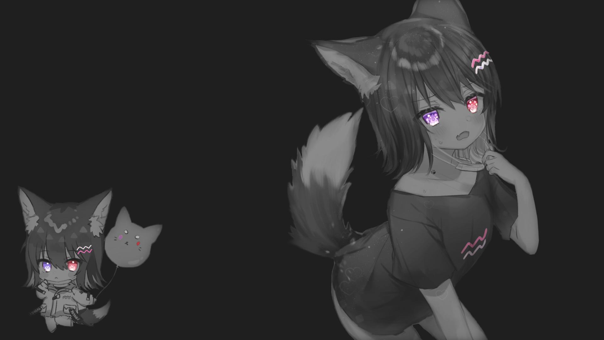 Dark Fox Girl Selective Coloring Anime Girls Simple Background Anime Wallpaper Resolution 1920x1080 Id 960202 Wallha Com