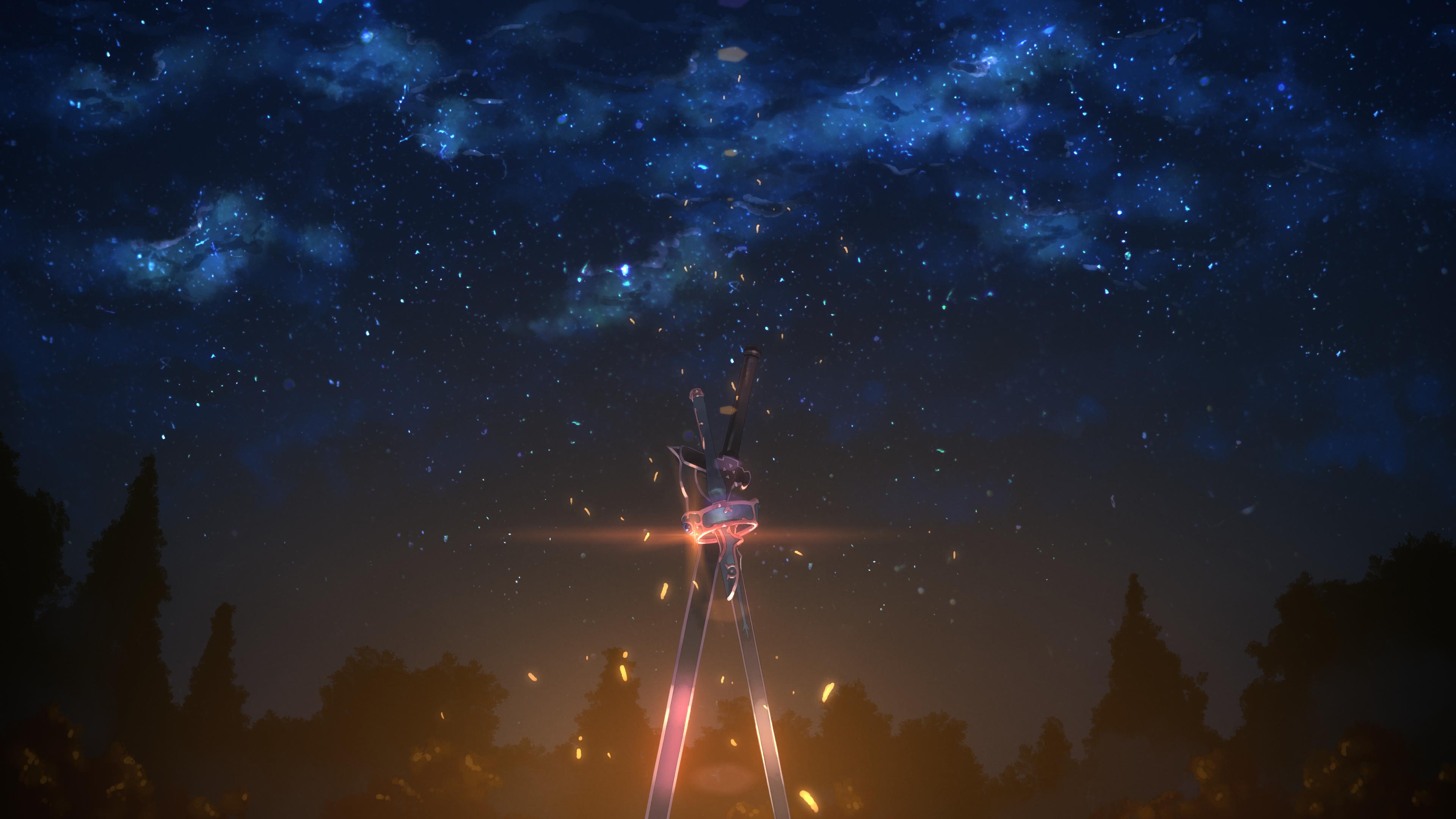 Night Sky Starry Sky Stars Sword Sword Art Online Weapon 3840x2160