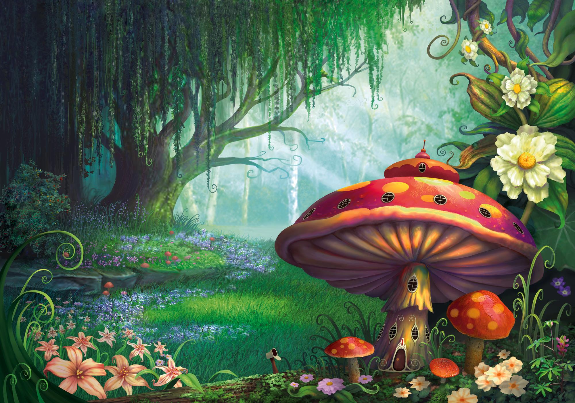 Artistic Fantasy Flower Forest House Mushroom Spring Tree 2000x1400