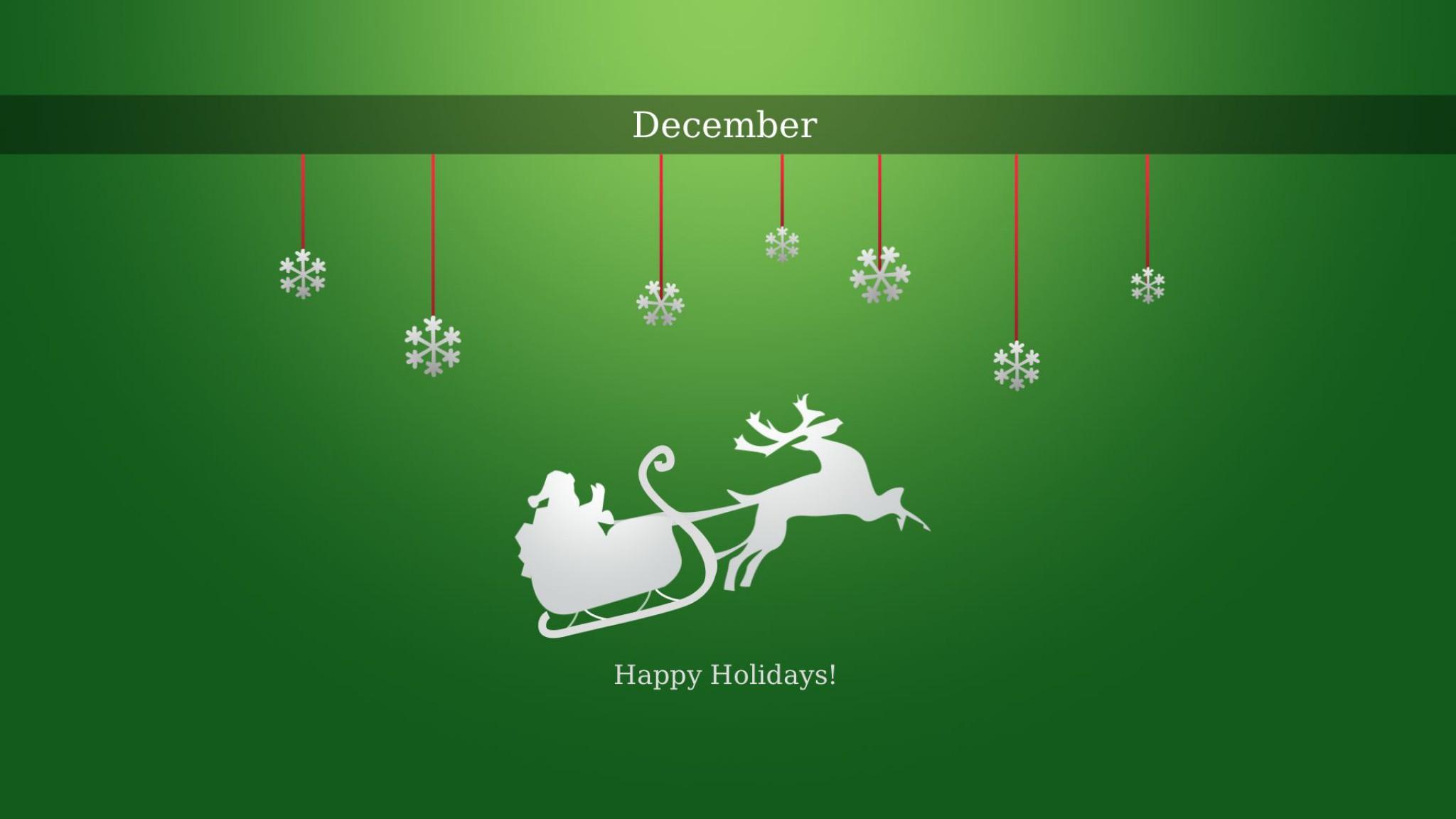 Christmas December Green Sleigh 2048x1152