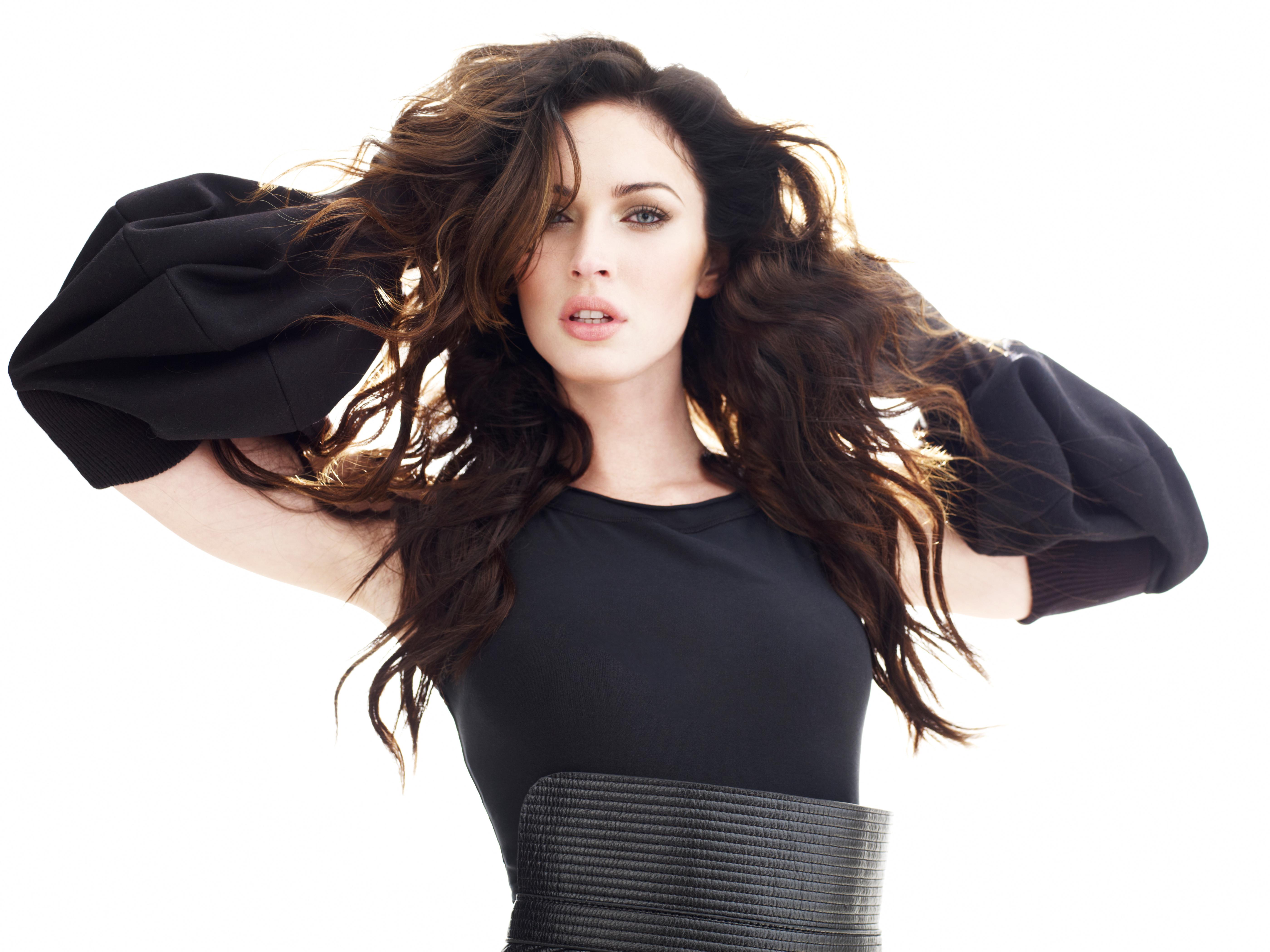 Megan Fox Women Hands On Head Black Dress Model Celebrity Blue Eyes Pink Lipstick 5600x4200