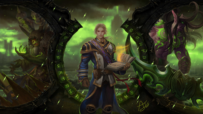Anduin Wrynn Gul 039 Dan World Of Warcraft Illidan Stormrage Video Game World Of Warcraft 6000x3375
