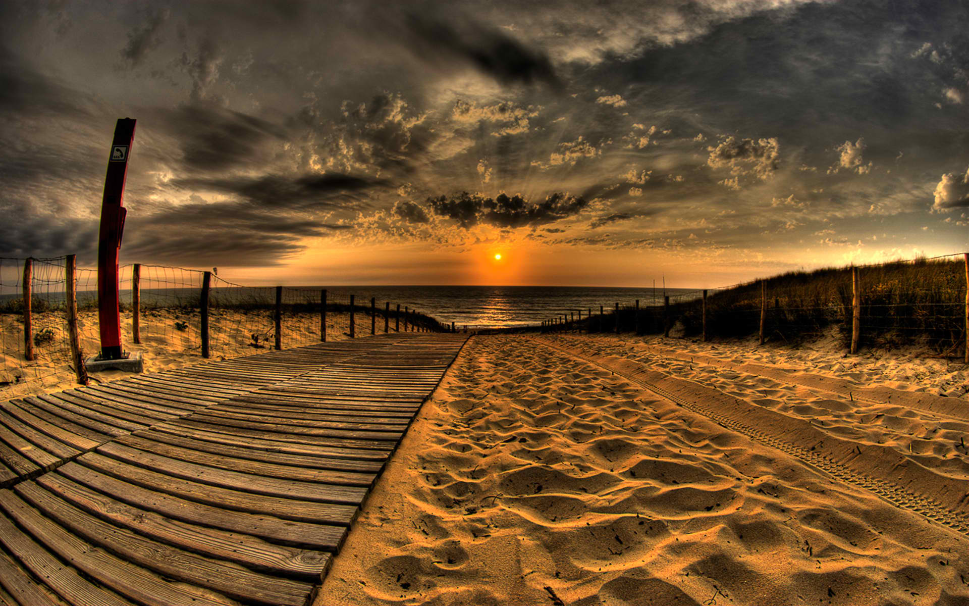 Beach Cloud Earth Fence Sand Sun Sunset Water 1920x1200
