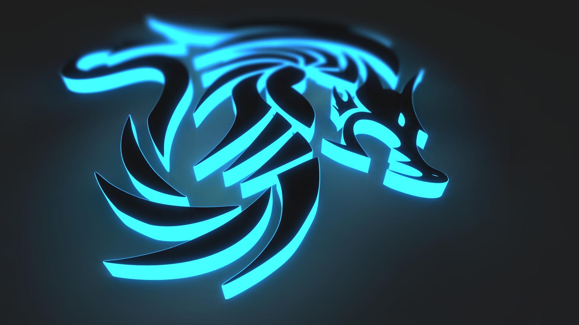3d Abstract Animal Black Blue Cgi Dark Digital Art Glow Wolf Wallpaper Resolution 1920x1080 Id 997849 Wallha Com