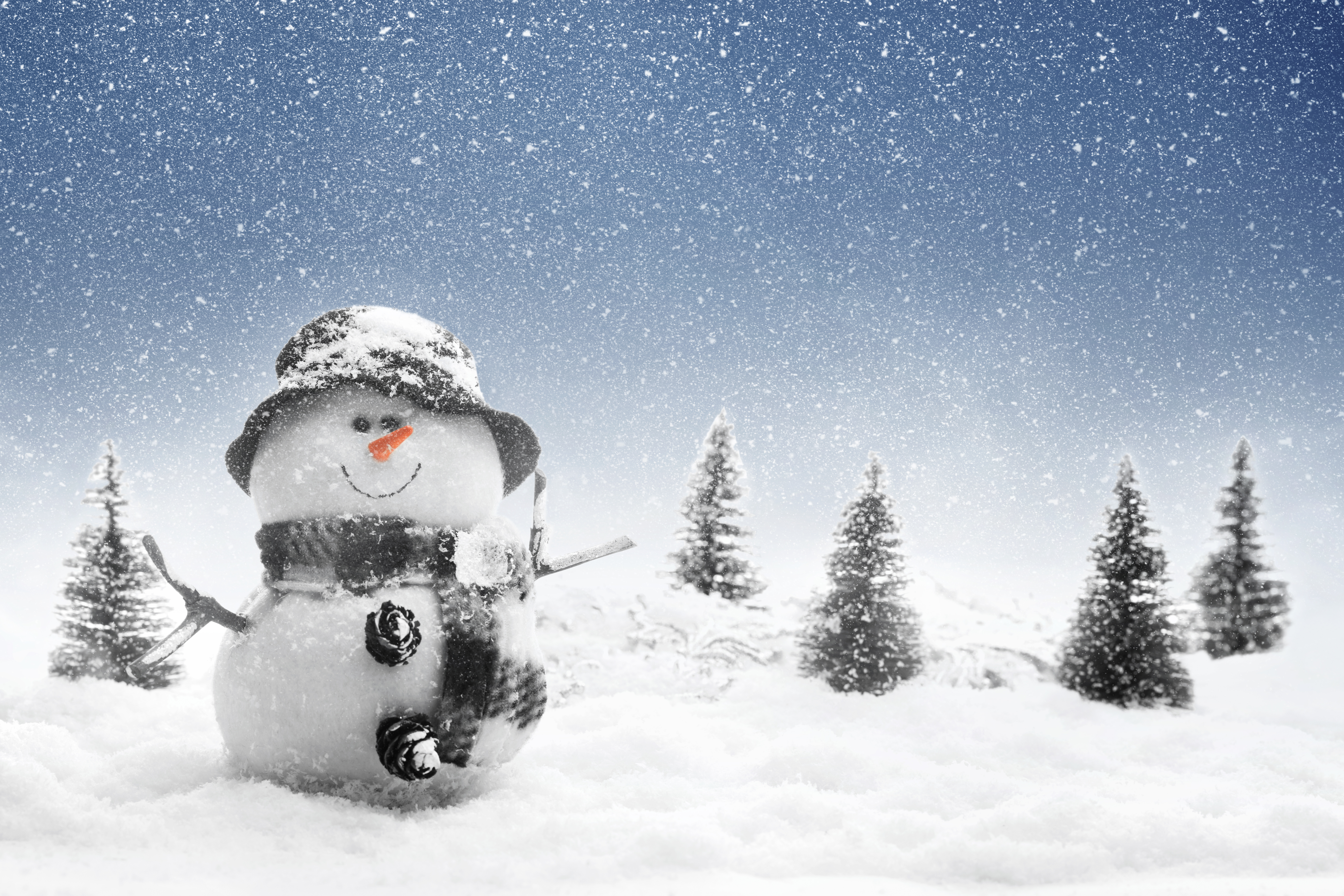 Snow Snowfall Snowman Winter 5616x3744