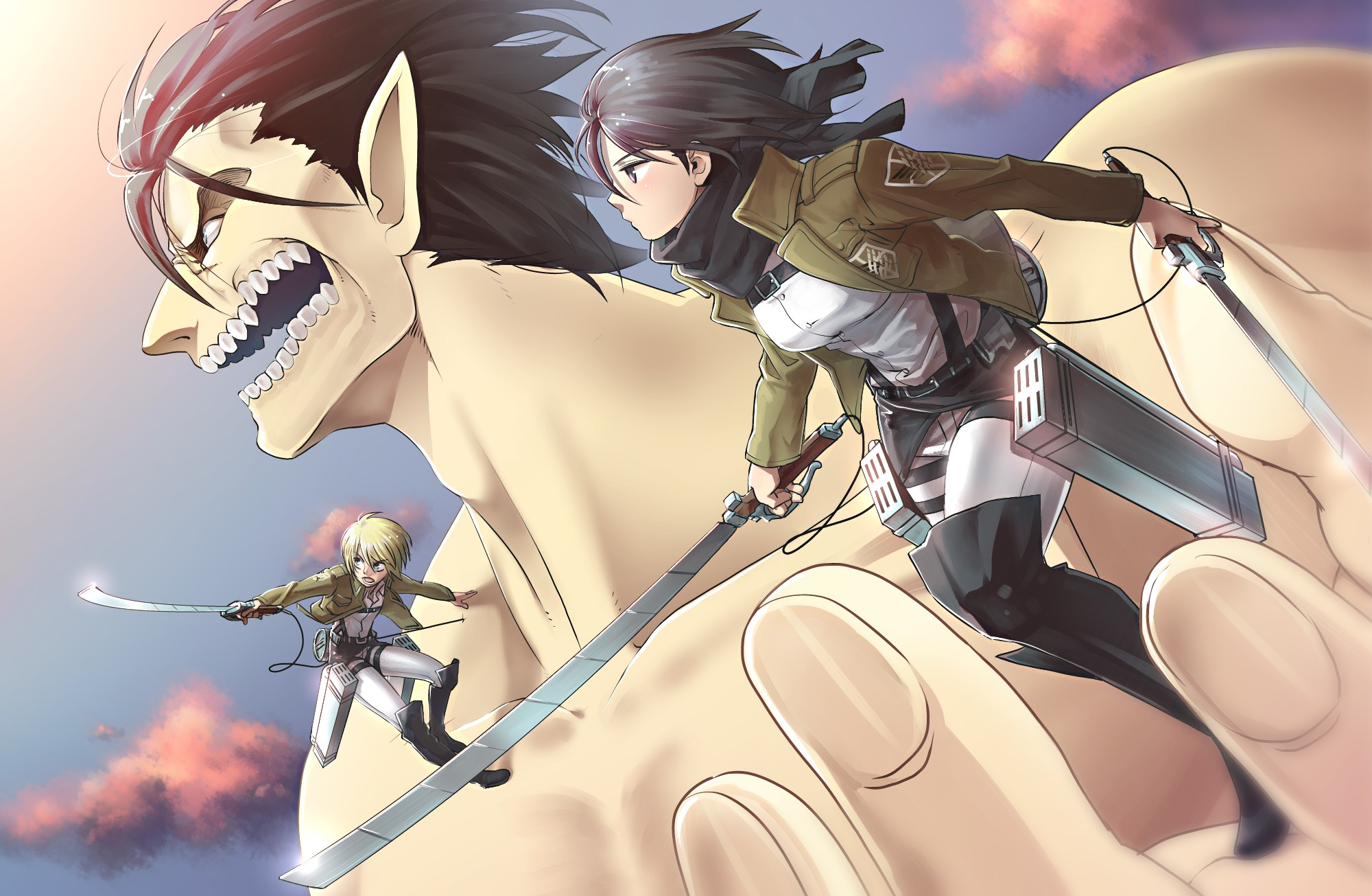 Armin Arlert Eren Yeager Mikasa Ackerman Wallpaper Resolution 2000x1305 Id 932102 Wallha Com