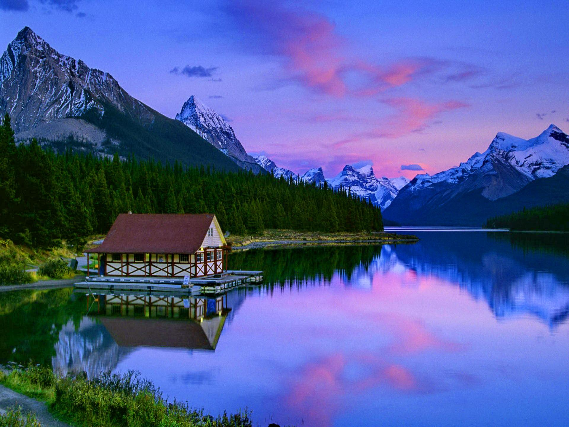 Cabin Forest Green Lake Mountain Pine Reflection Sky Sunset Tree 1920x1440