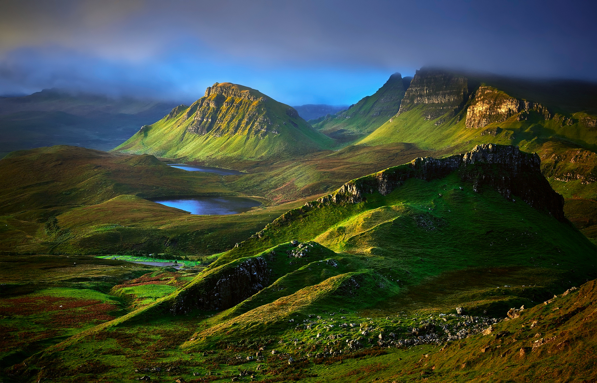 Highlands Hill Isle Of Skye Landscape Scotland 2048x1313