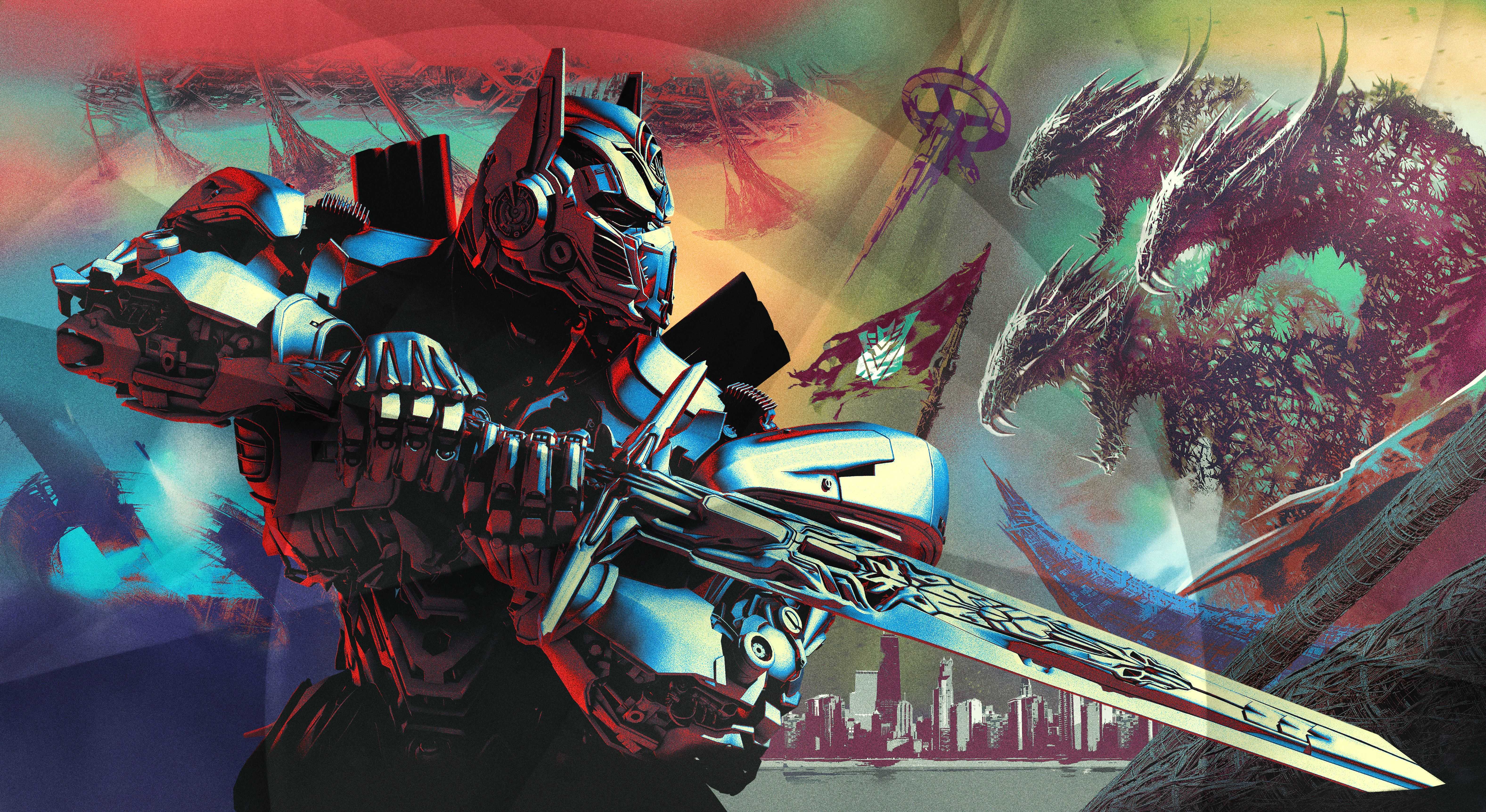 Optimus Prime Robot Sword Transformers Transformers The Last Knight 6307x3450