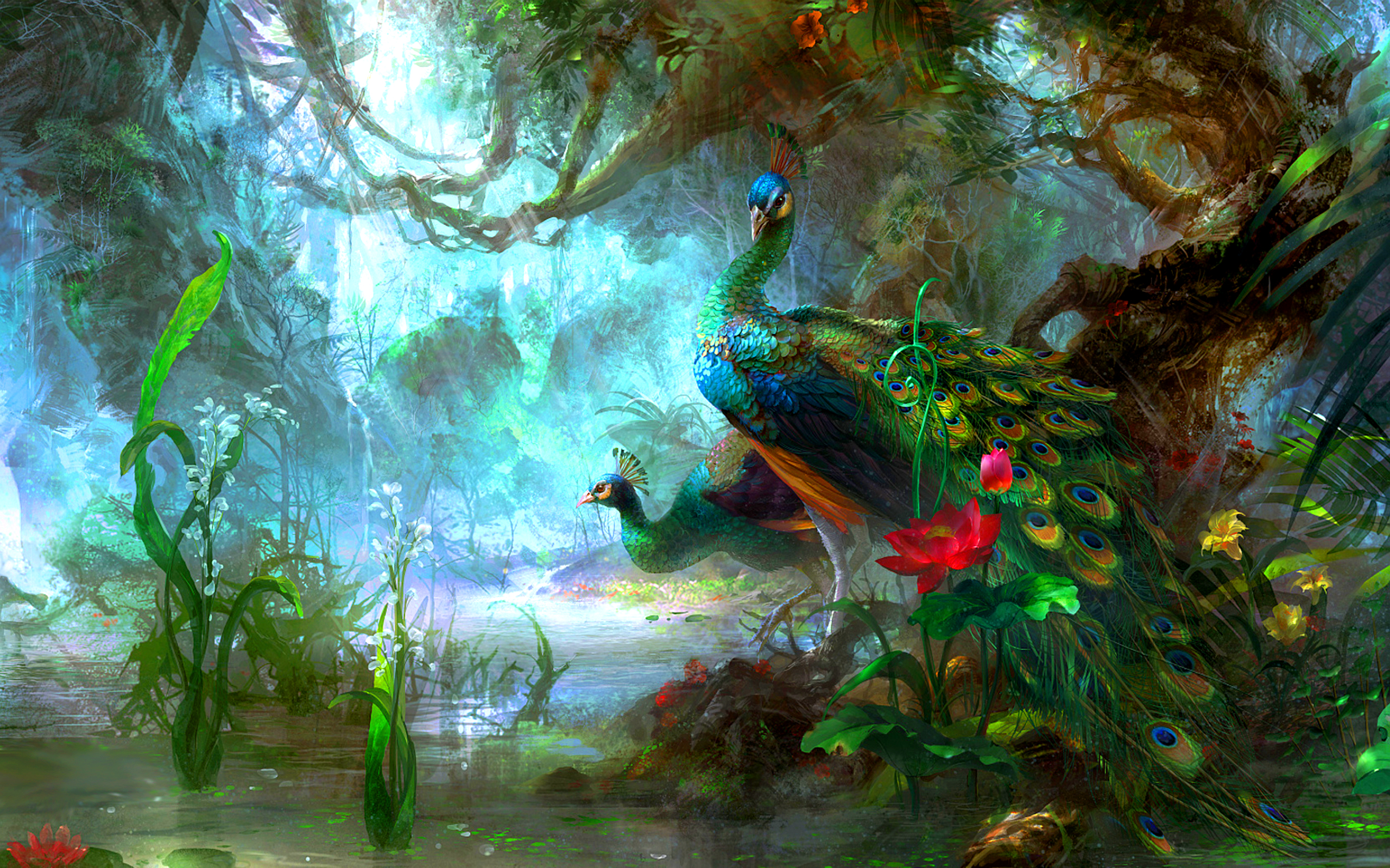 Artistic Bird Colorful Colors Flower Forest Green Peacock Peafowl Tree 2560x1600