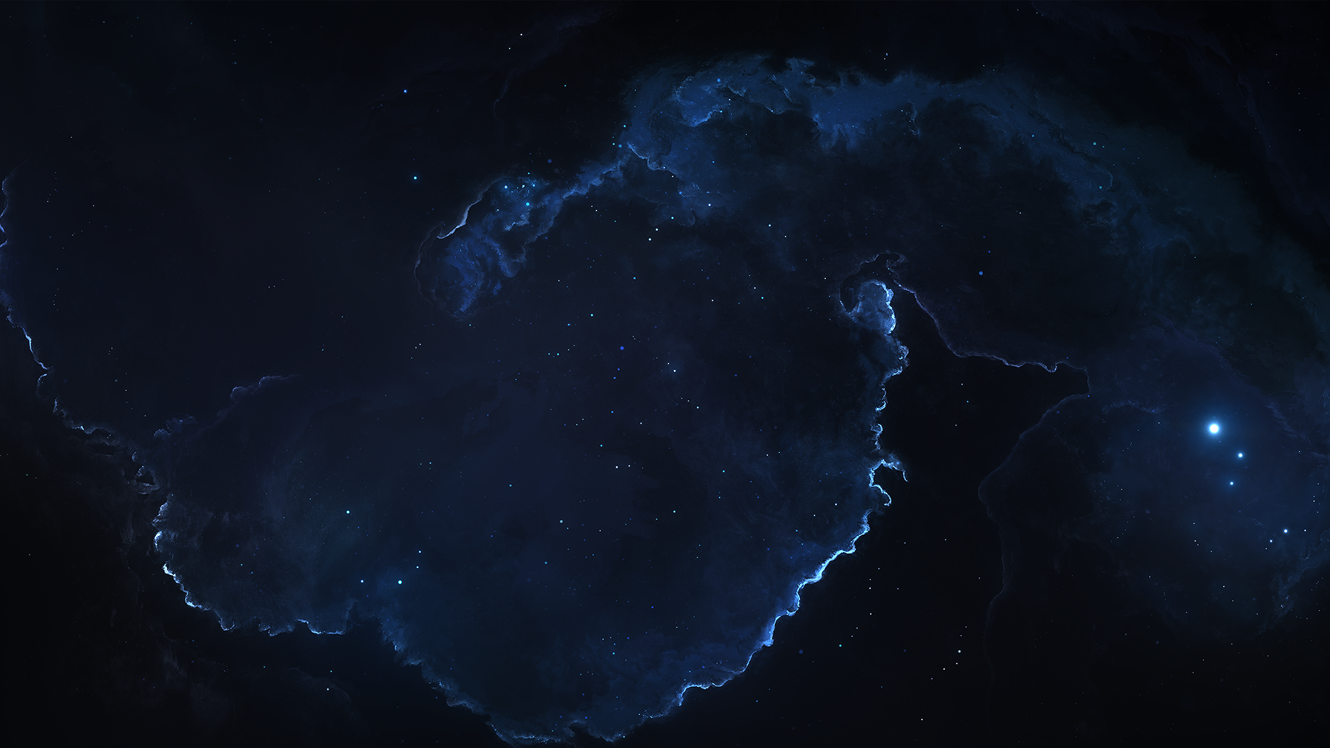Blue Nebula Space Stars 1920x1080