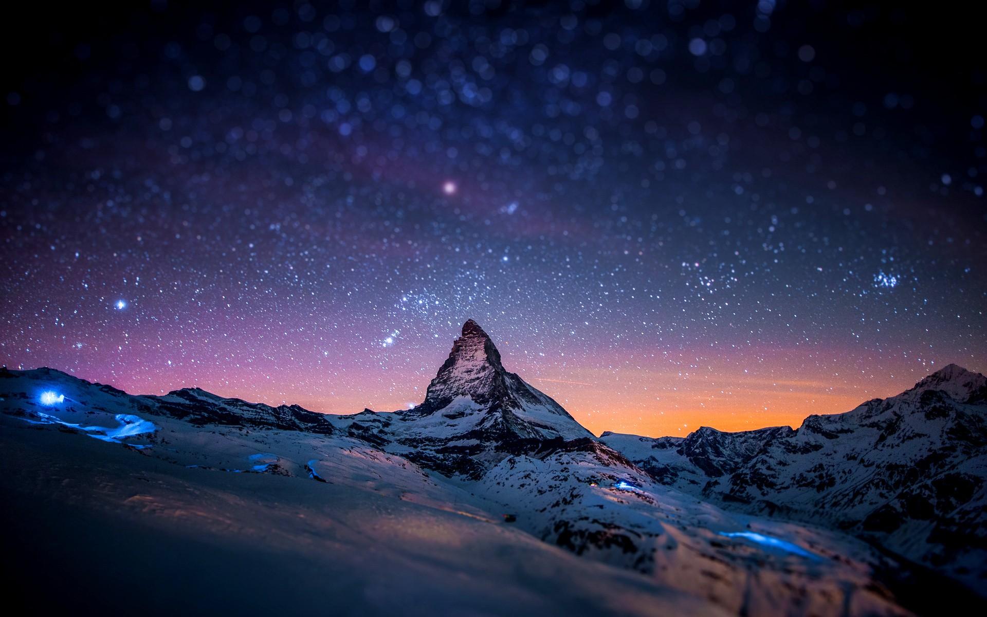 Artistic Dark Earth Matterhorn Mountain Sky Snow Space Starry Sky Stars Switzerland 1920x1200