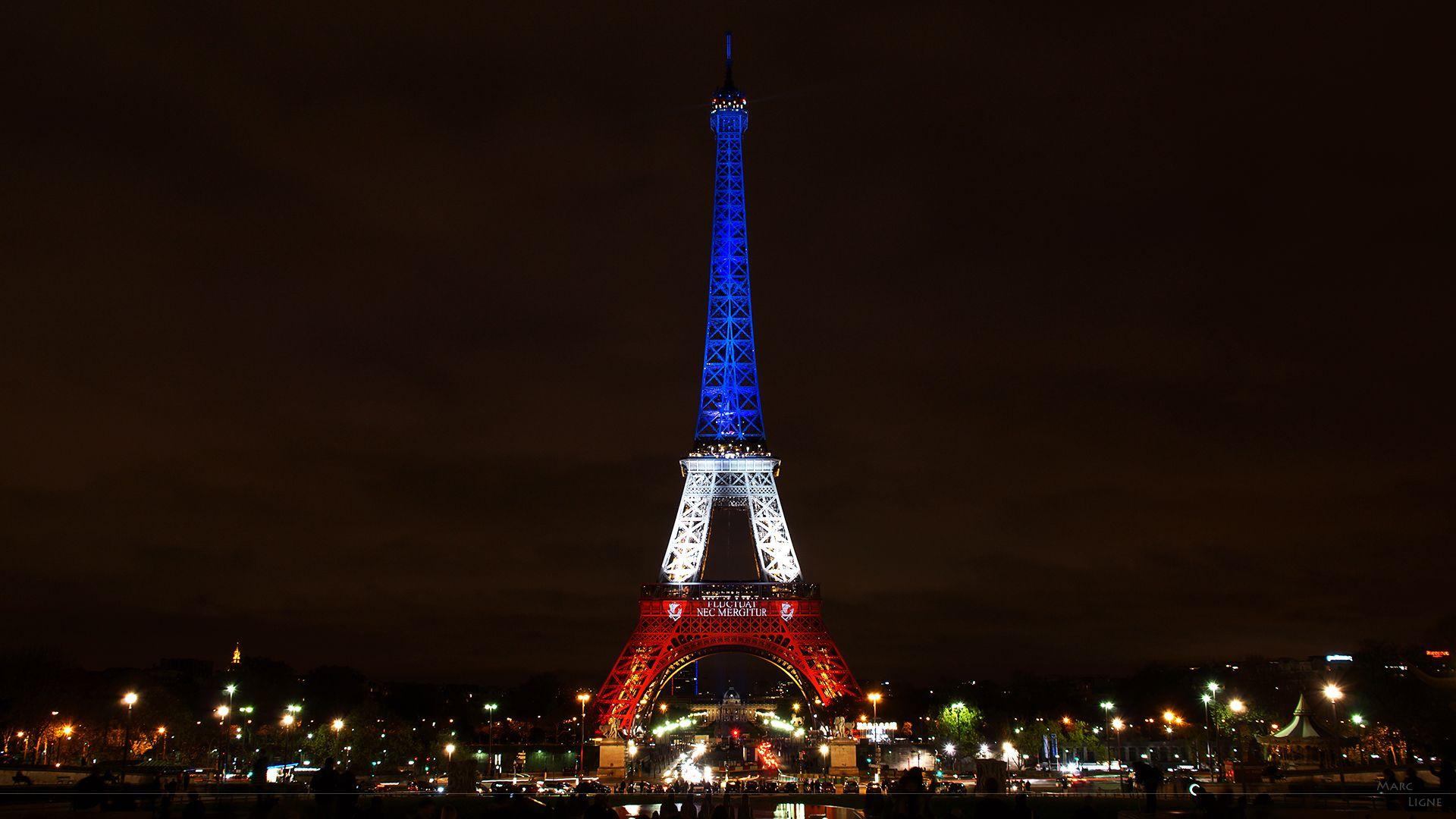City Eiffel Tower France Light Night Paris 1920x1080