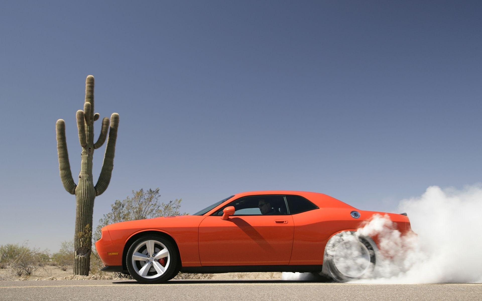 Burnout Car Dodge Dodge Challenger Dodge Challenger Srt8 Orange Car Smoke Vehicle 1920x1200