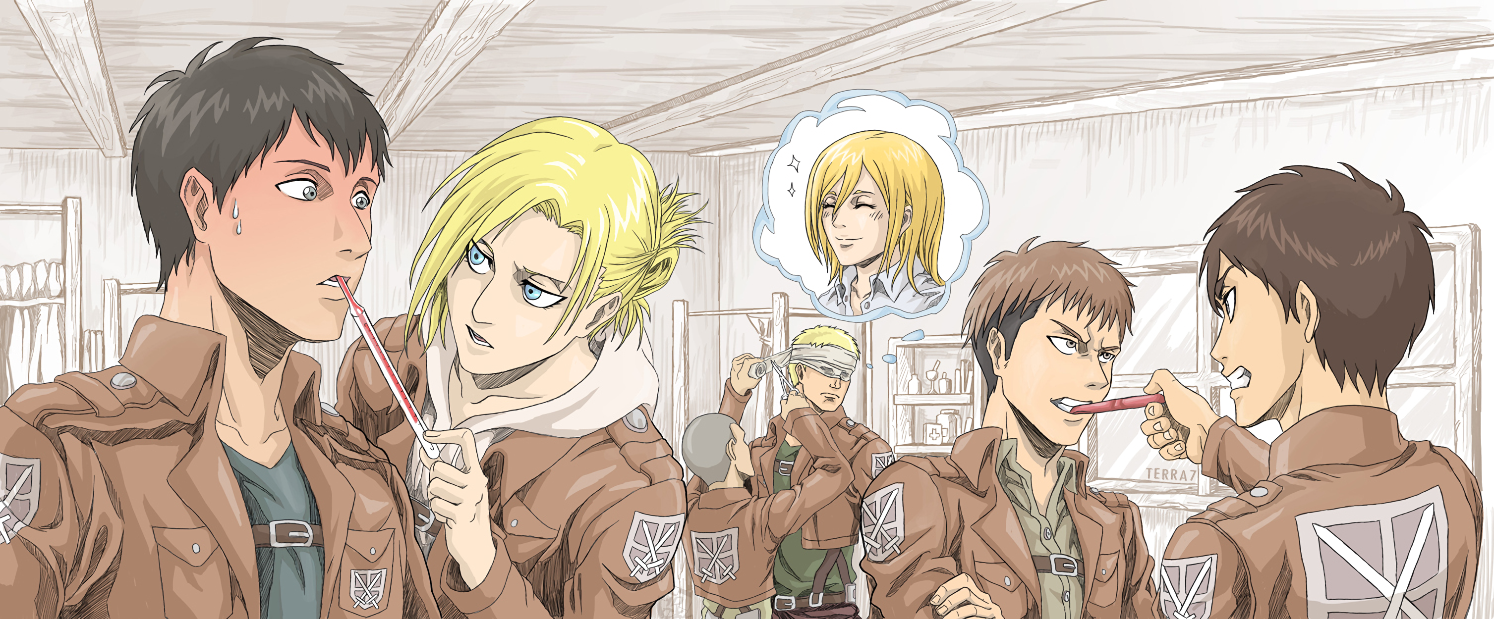 Annie Leonhart Bertholdt Hoover Connie Springer Eren Yeager Jean Kirstein Reiner Braun Shingeki No K Wallpaper Resolution 3014x1250 Id 981094 Wallha Com