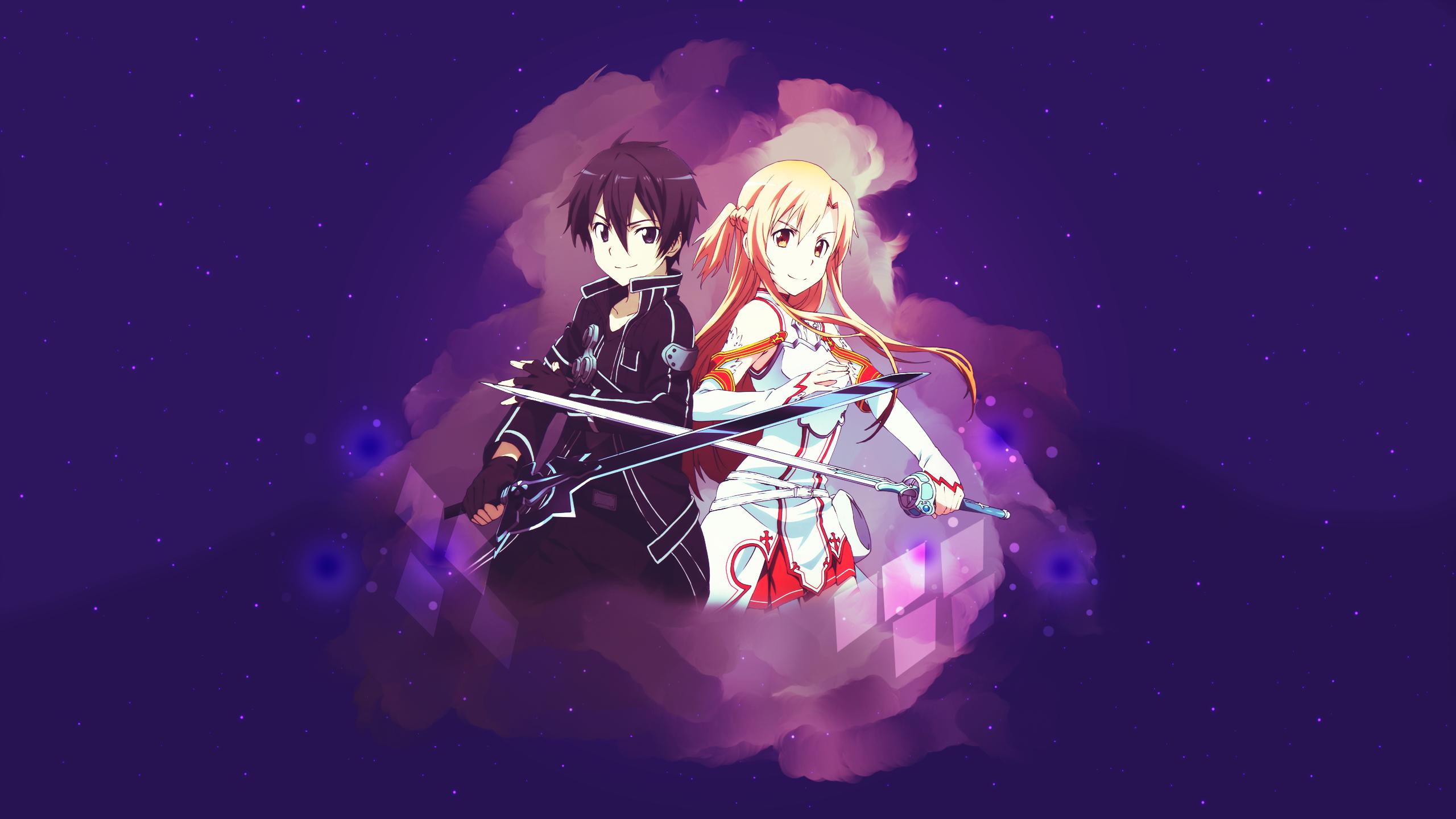 Asuna Yuuki Kazuto Kirigaya Kirito Sword Art Online Sword Art Online Wallpaper Resolution 2560x1440 Id 910066 Wallha Com