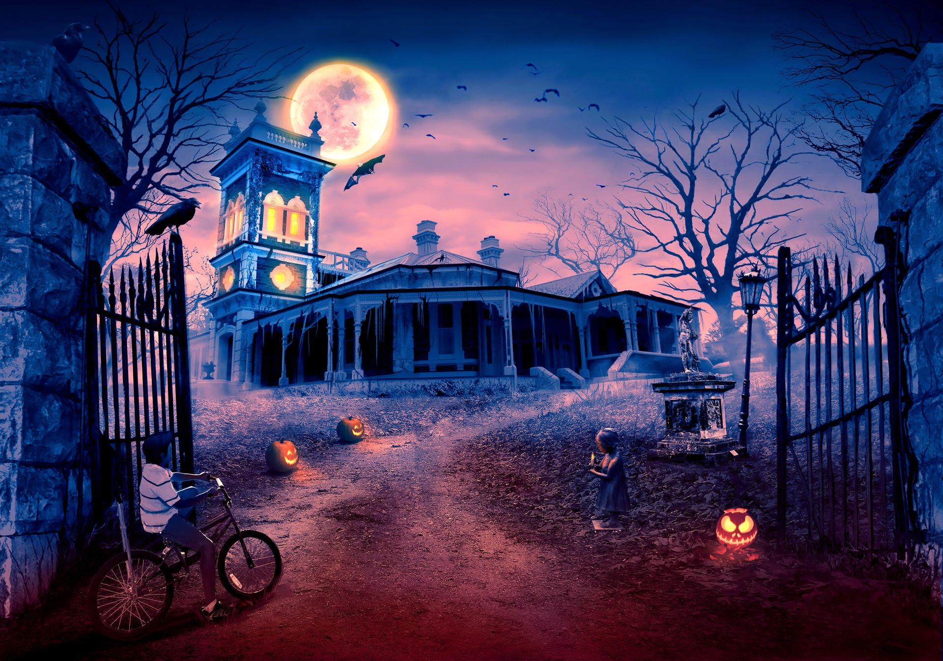 Bat Halloween Haunted House Holiday Jack O 039 Lantern Little Girl Moon Raven Scary 1920x1346