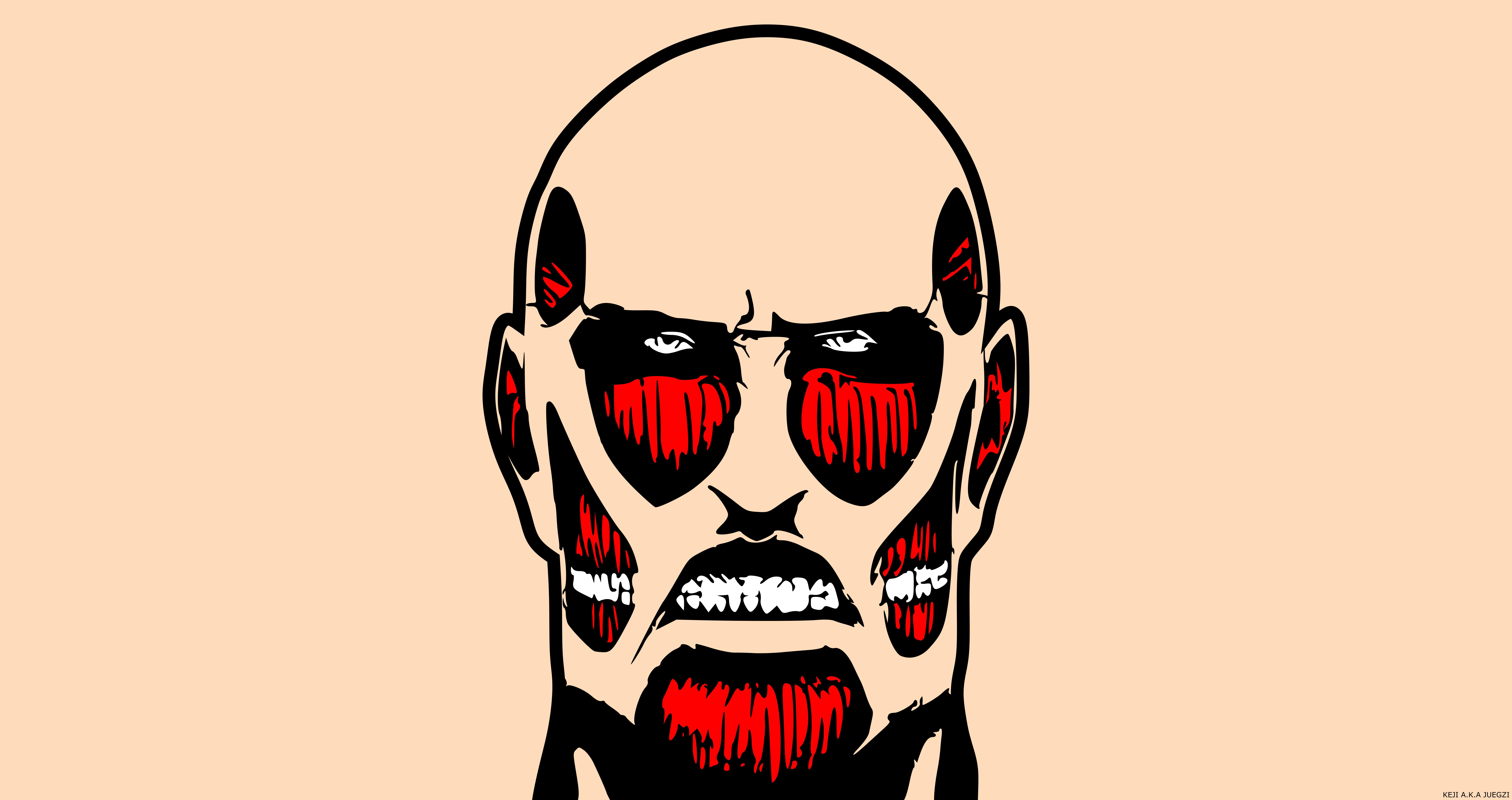 Attack On Titan Colossal Titan Face Minimalist Wallpaper Resolution 8500x4500 Id 1072032 Wallha Com