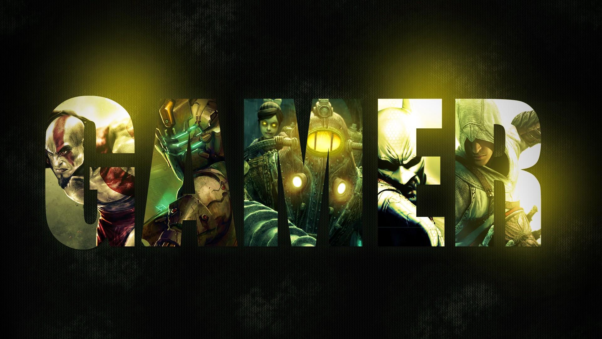 Assassin 039 S Creed Batman Arkham City Bioshock Dead Space Digital Art Gamer Typography 1920x1080