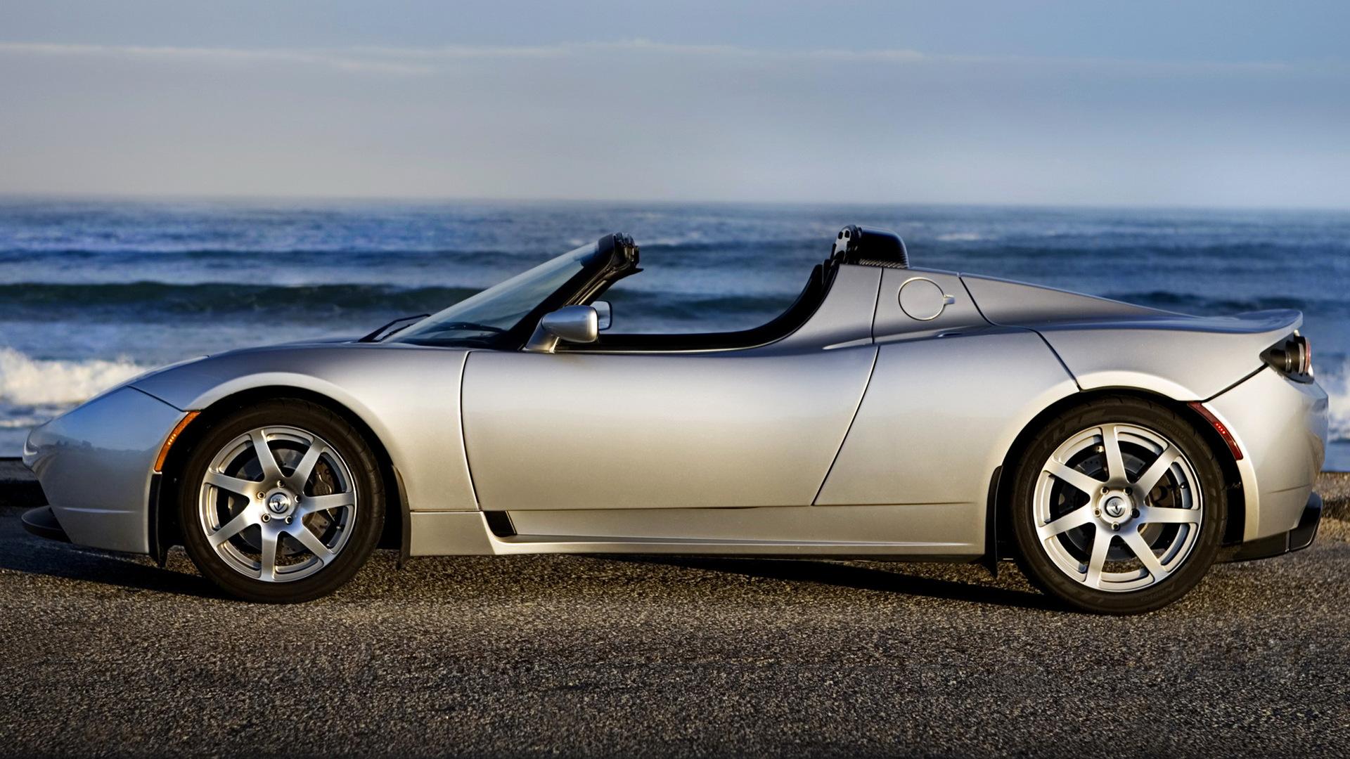 Car Electric Car Silver Car Small Sized Car Sport Car Tesla Roadster Wallpaper Resolution 1920x1080 Id 1044515 Wallha Com