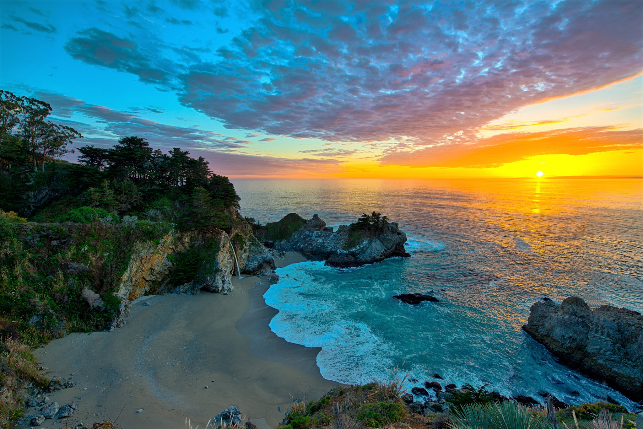 Big Sur California Earth Horizon Mcway Falls Ocean Rock Sea Sunset 2048x1367