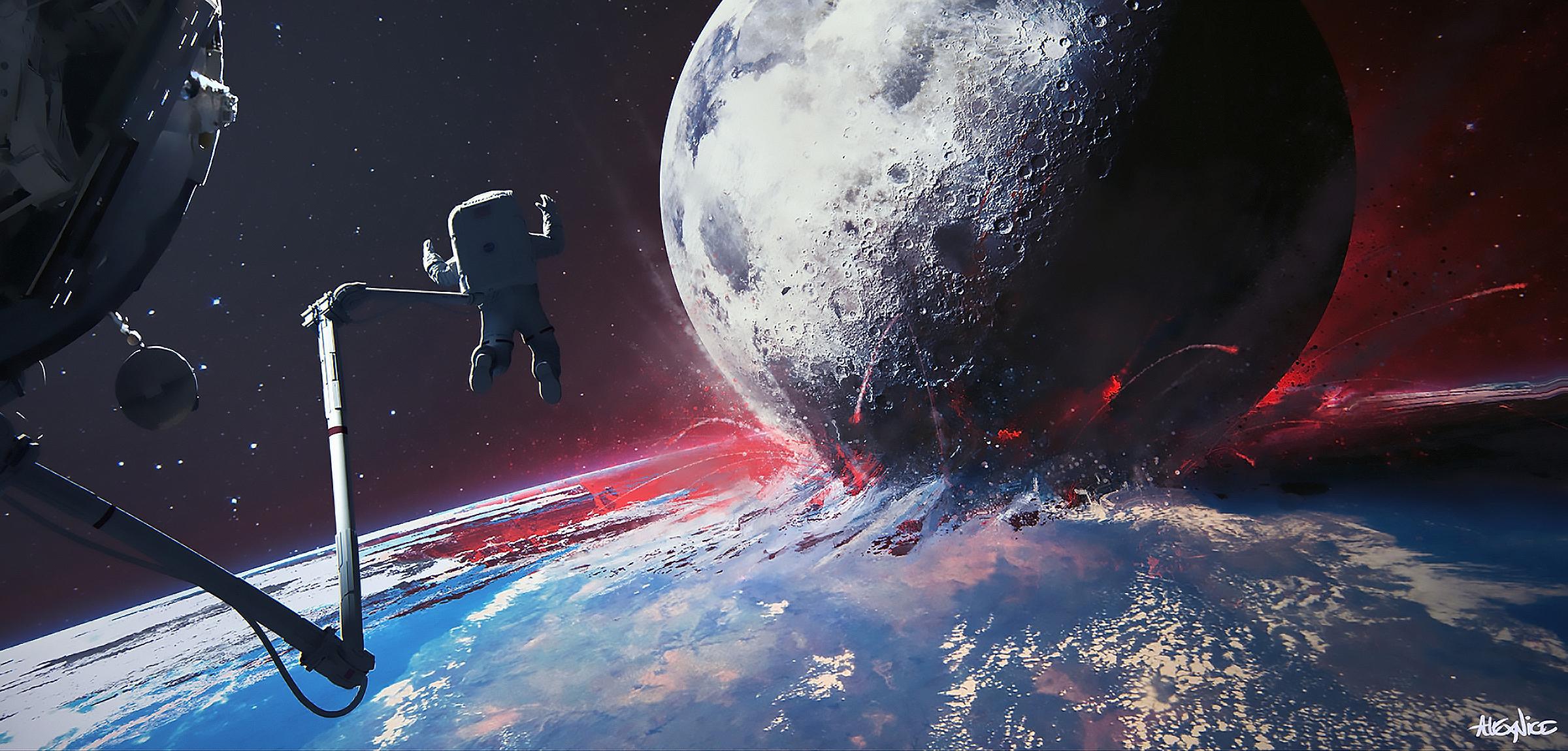 Astronaut Collision Earth Galaxy Moon Stars 2400x1150