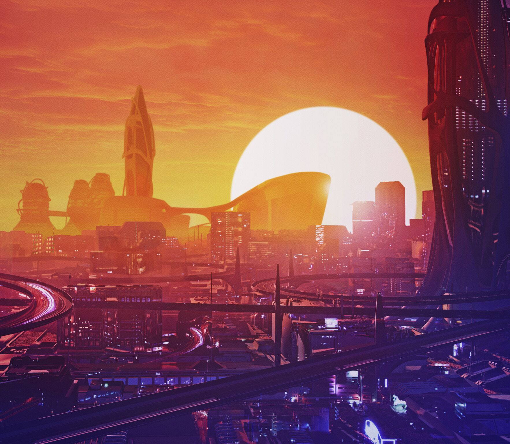 EDM Raven City Futuristic Music 1766x1536