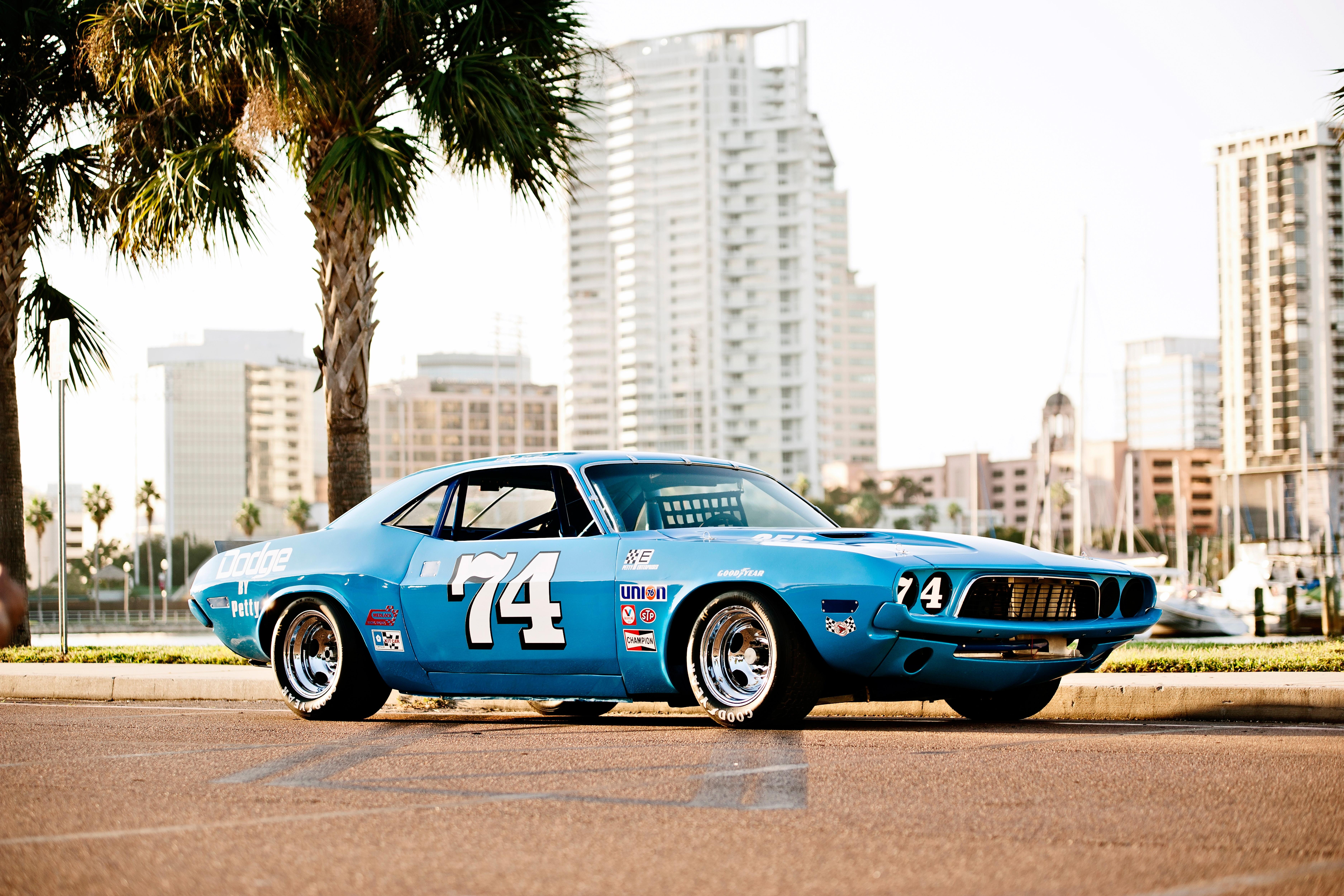 Blue Car Dodge Challenger Muscle Car Race Car 7500x5000