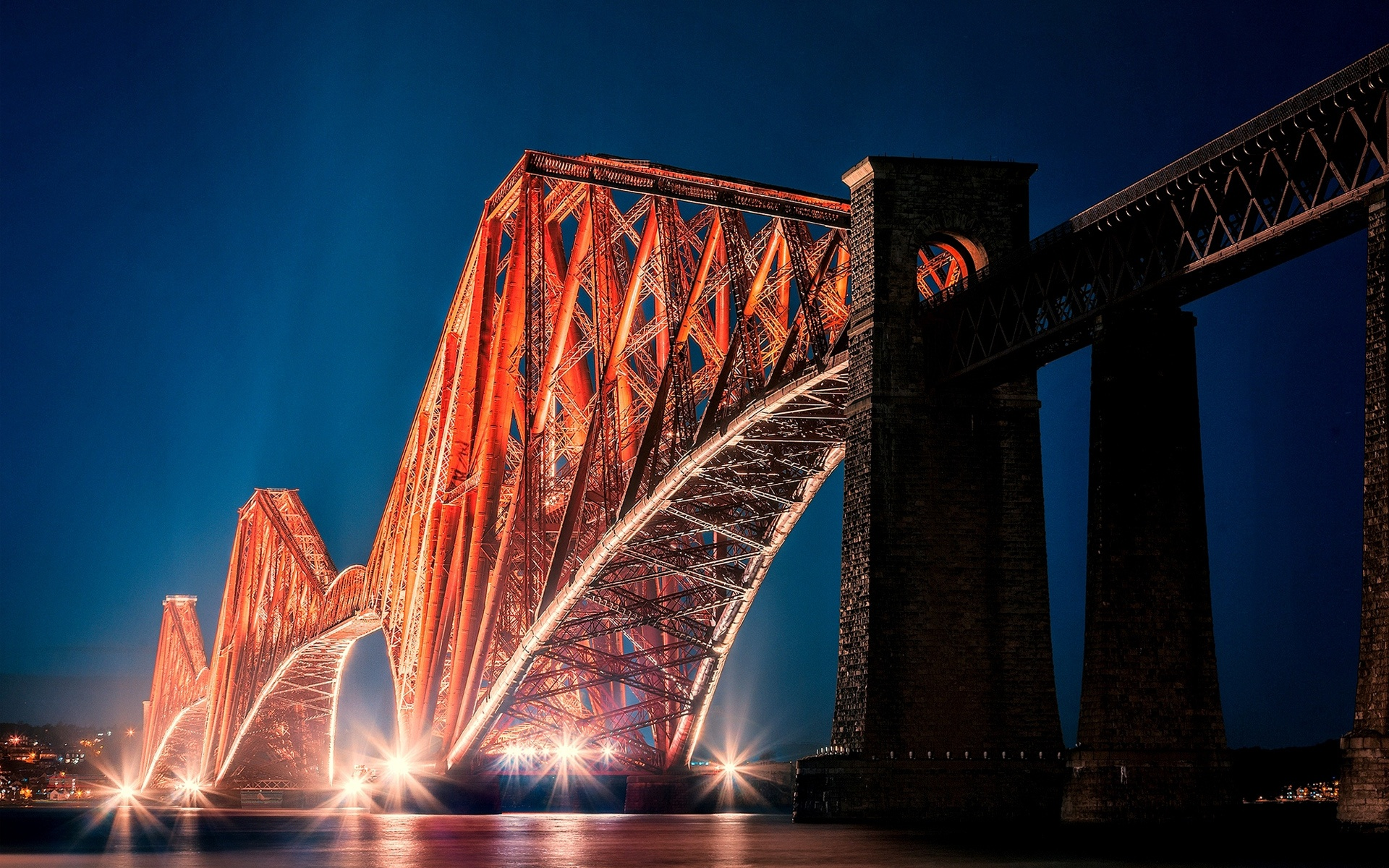 Bridge Edinburgh Forth Bridge Night Scotland 1920x1200