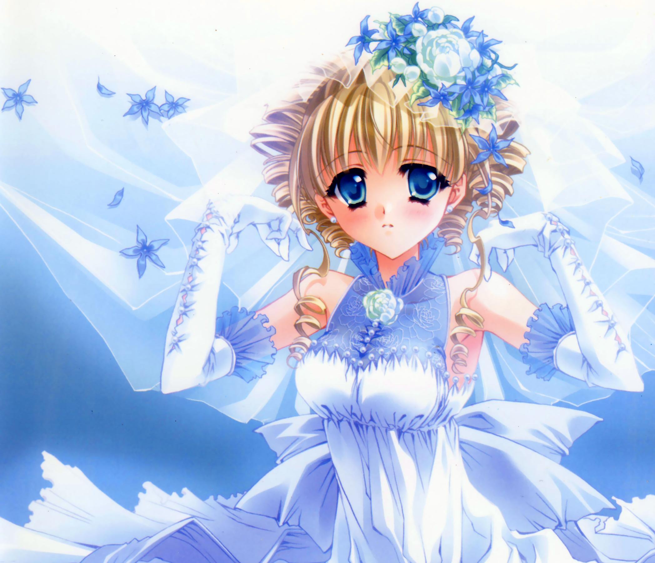 Blonde Blue Eyes Blush Flower Glove Short Hair Wedding Dress 2096x1800