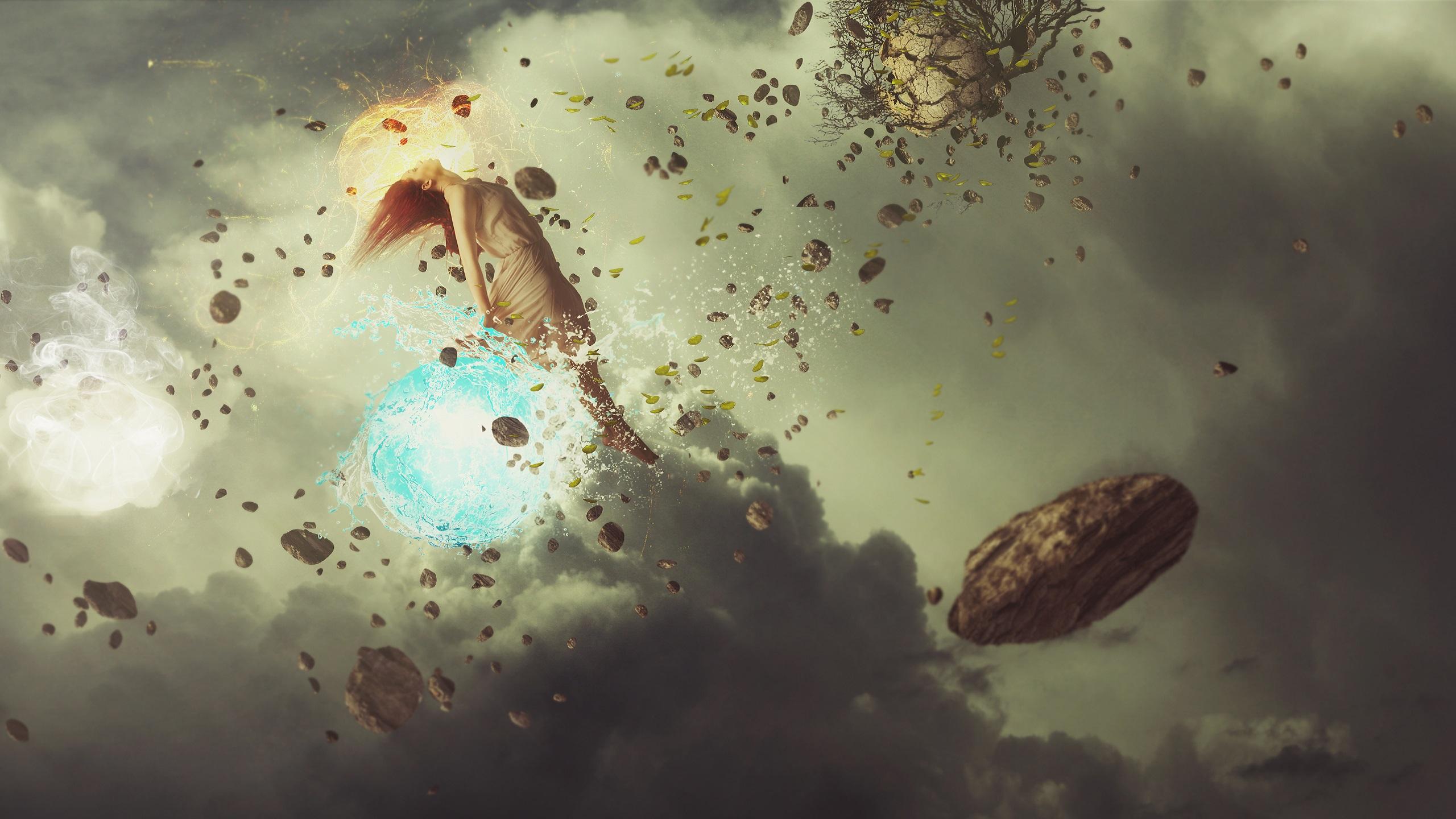Elemental Fantasy Landscape Manipulation Woman 2560x1440