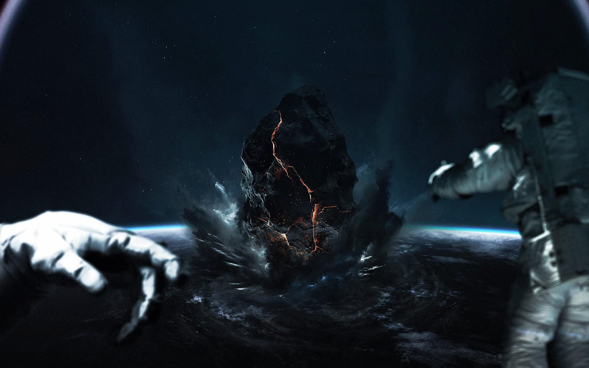 Asteroid Astronaut Collision Sci Fi Space 1920x1200