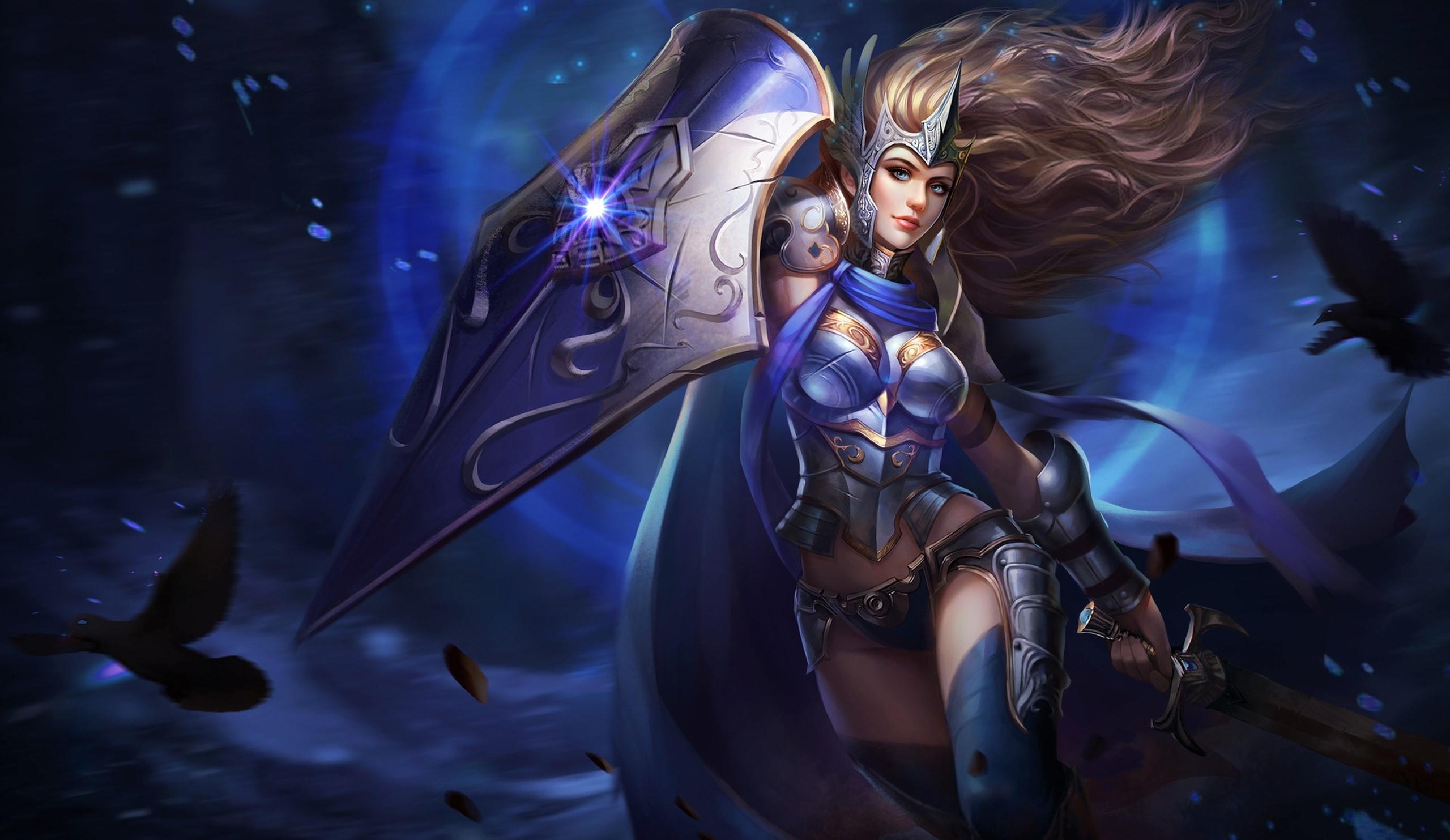 Girl Raven Shield Sword Woman Woman Warrior 2560x1483