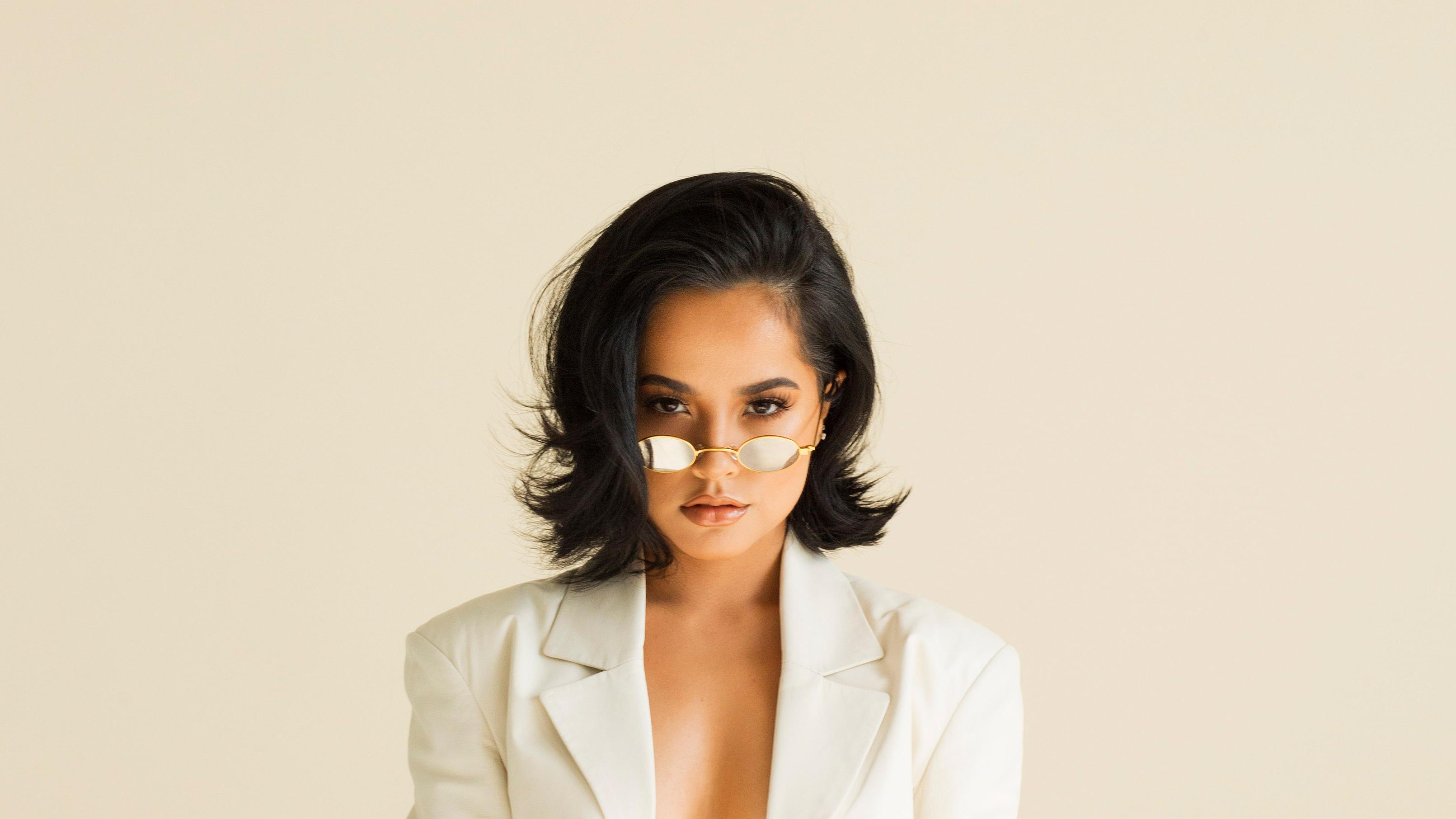 American Becky G Black Hair Brown Eyes Singer Sunglasses 3222x1812