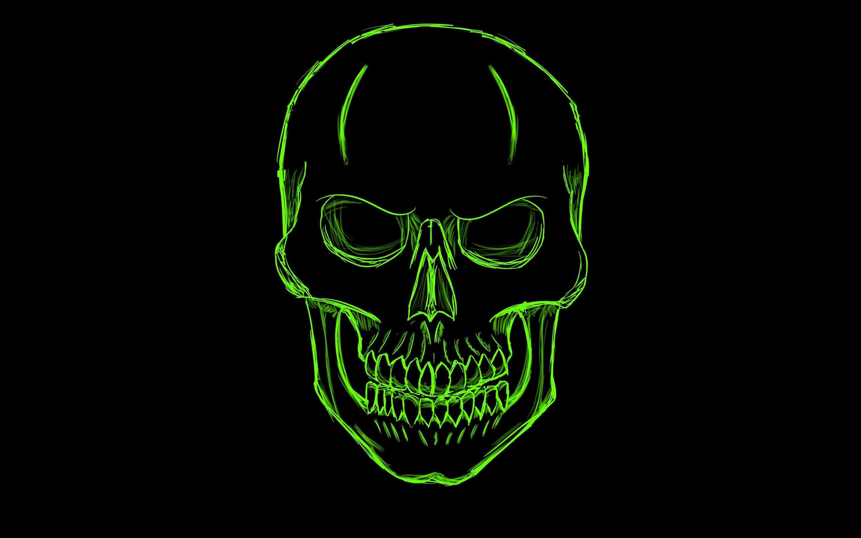 Green Minimalist Skull 2880x1800