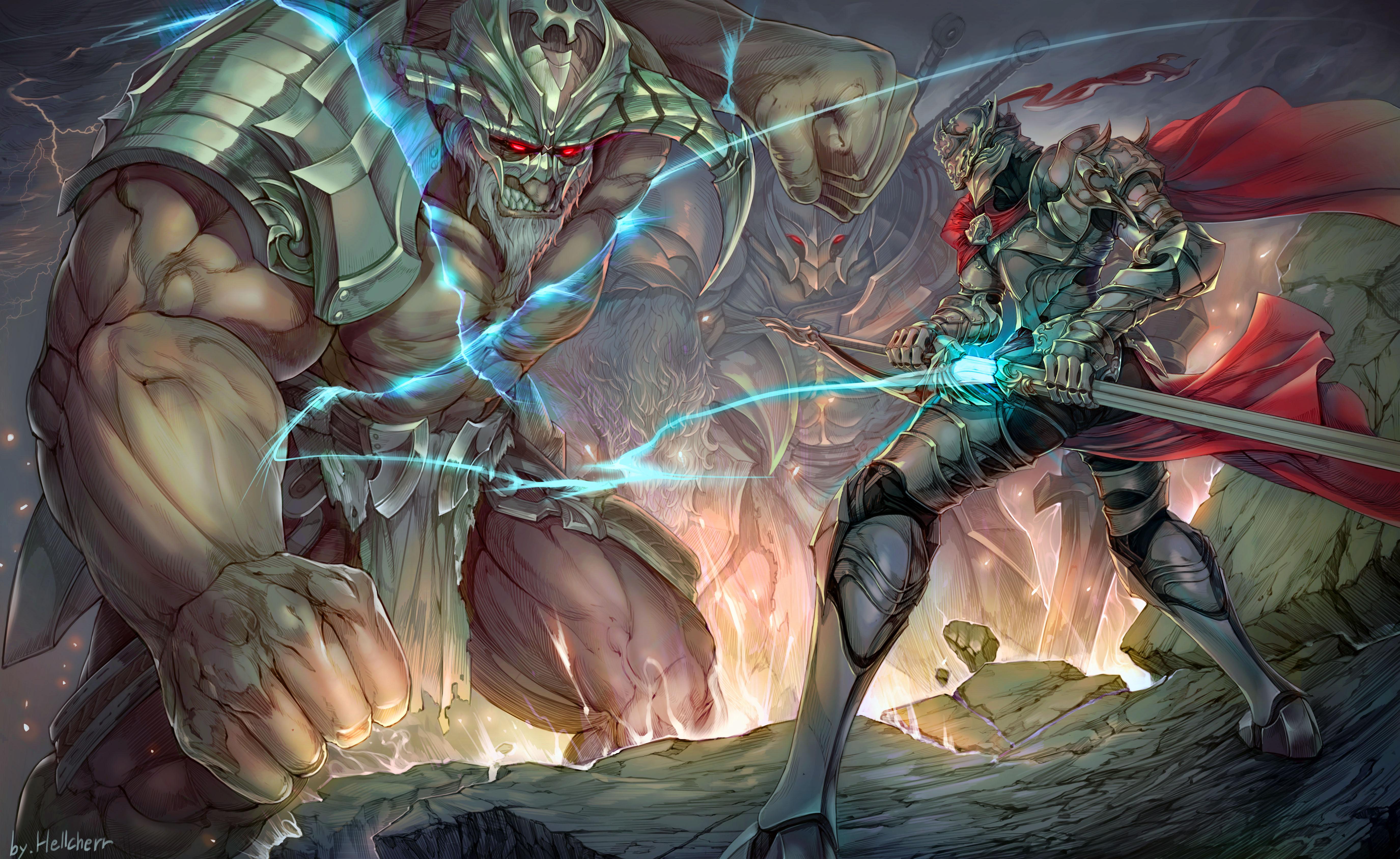 Armor Battle Giant Knight Sword Warrior 5500x3376