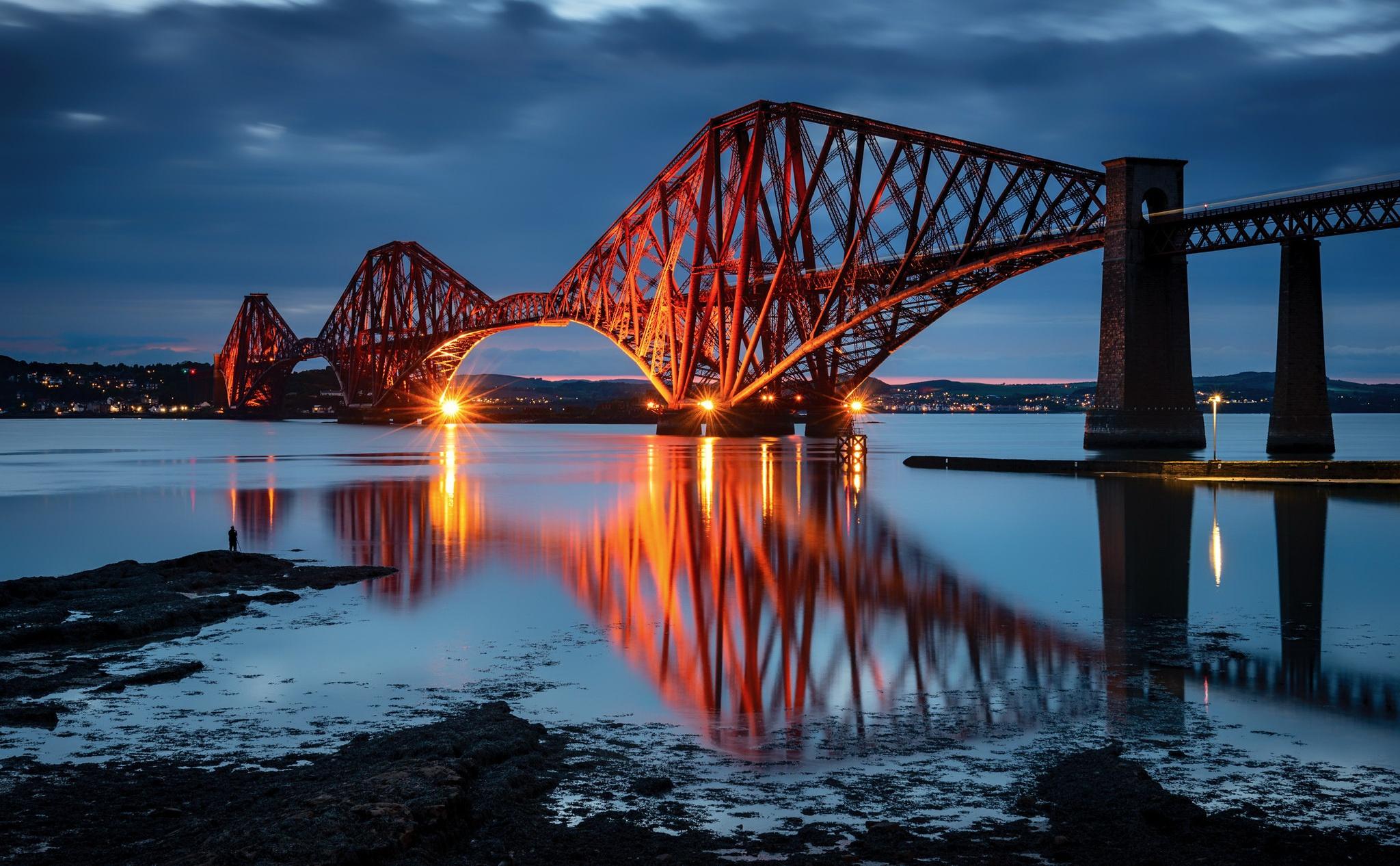 Bridge Edinburgh Forth Bridge Reflection Scotland 2048x1266