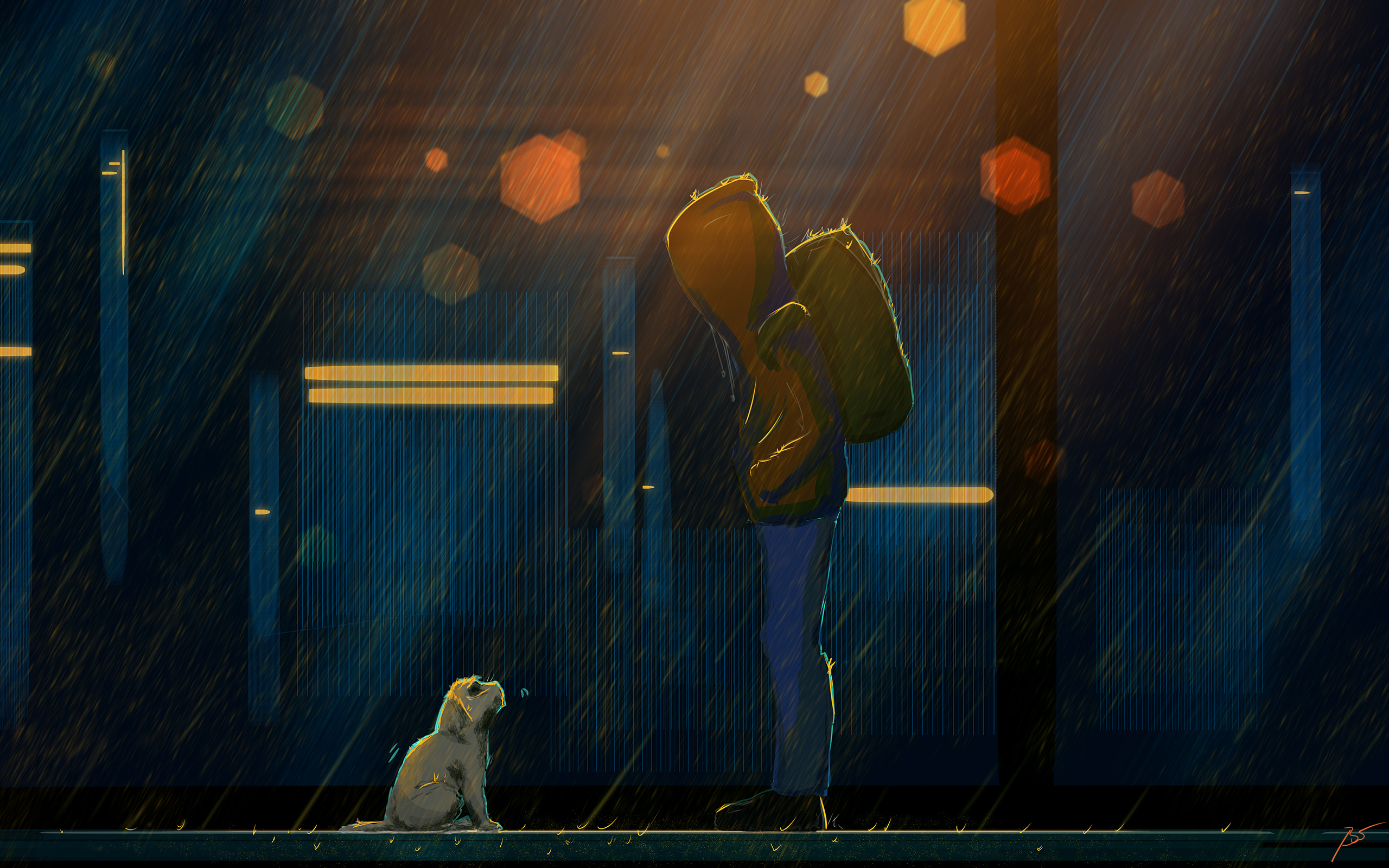 Boy Dog Rain Sad Wallpaper Resolution 2560x1600 Id 1049151 Wallha Com